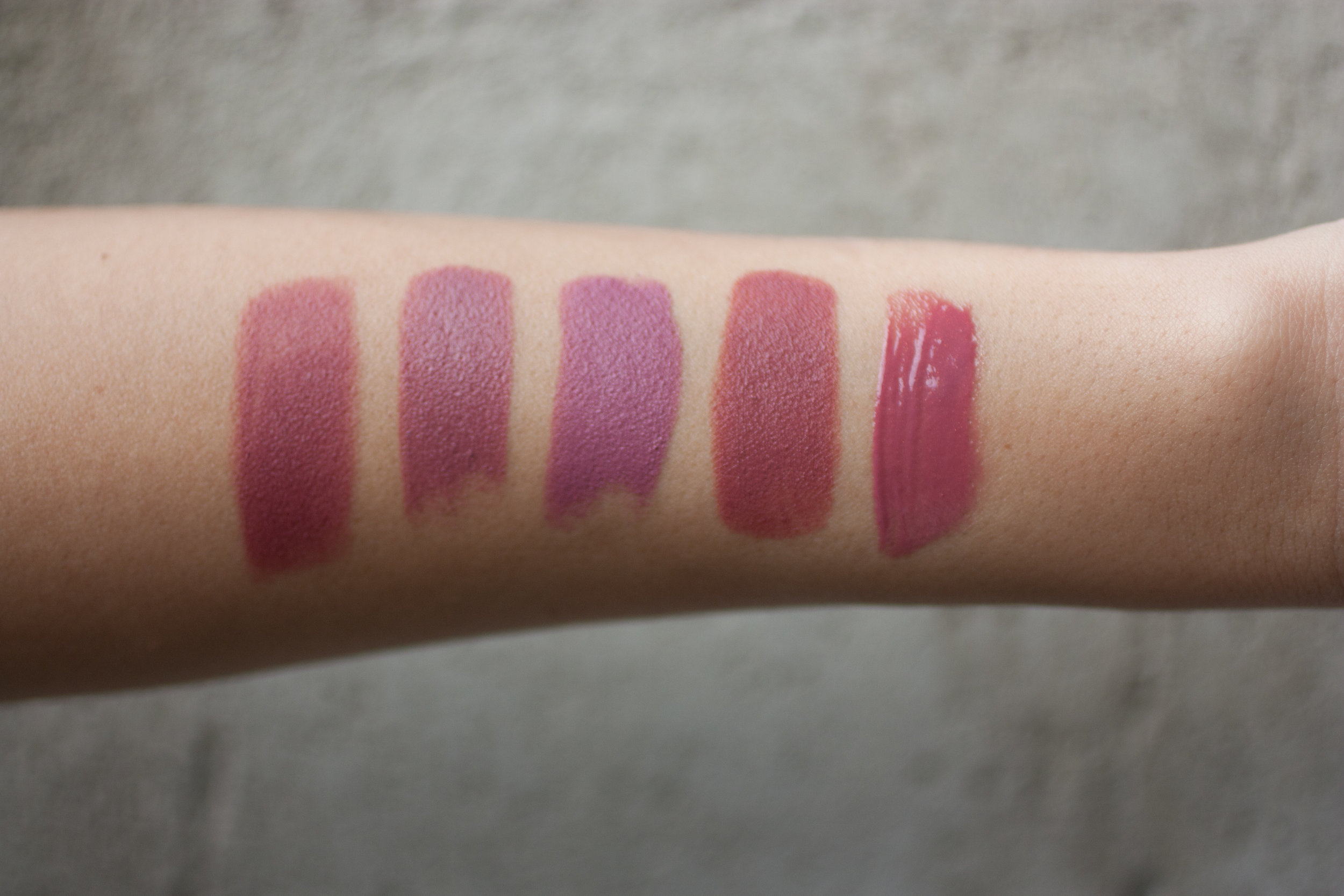 LEFT TO RIGHT:  Charlotte Tilbury Bond Girl, Bite Beauty Pepper, NARS Anna, Bite Beauty Chai, bareMinerals Heartbreaker Gloss