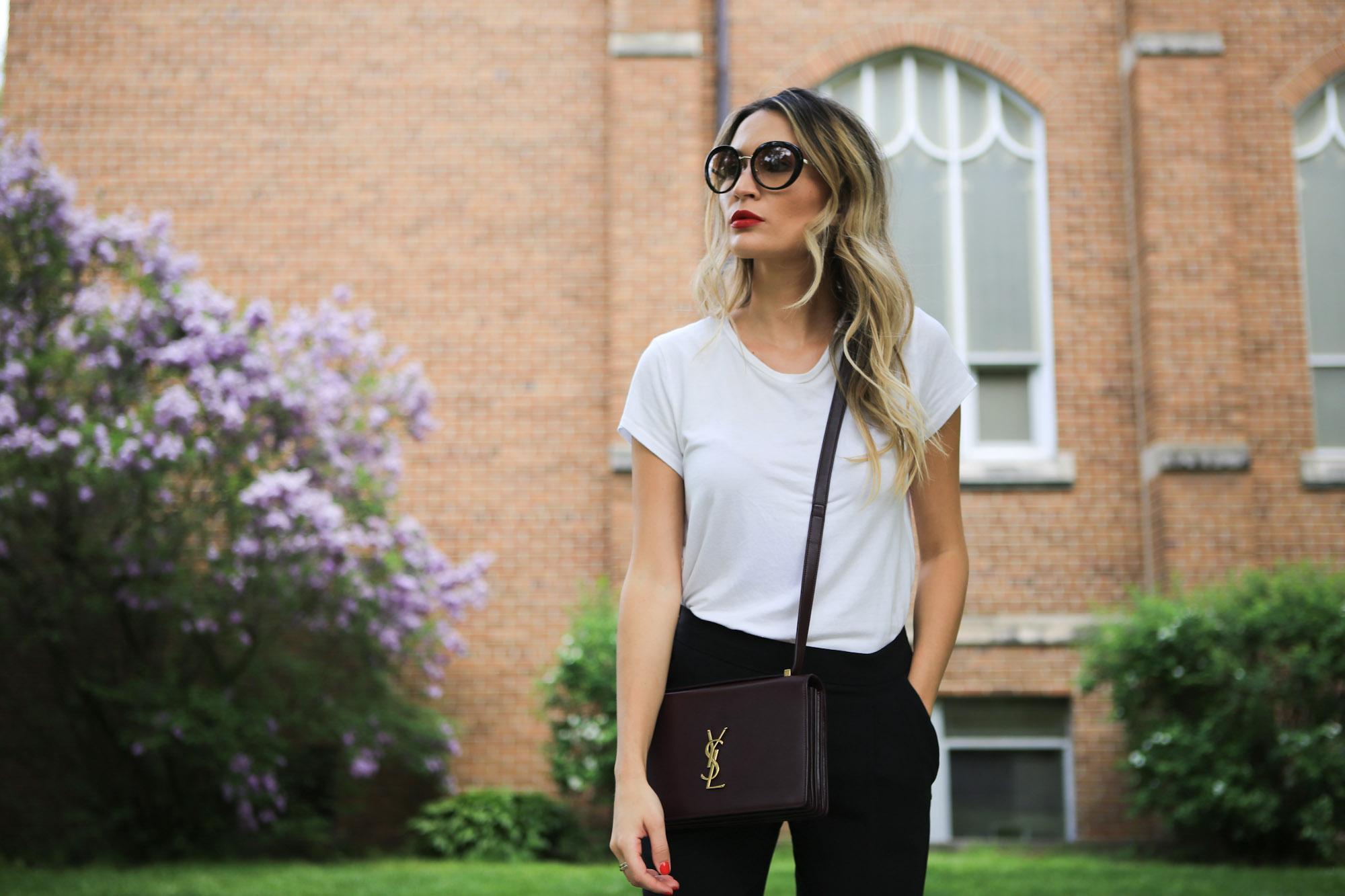 DETAILS - Sunglasses - PradaLip - By Terry Click Stick #18T Shirt - ReformationBag - Saint LaurentTrousers - Babaton