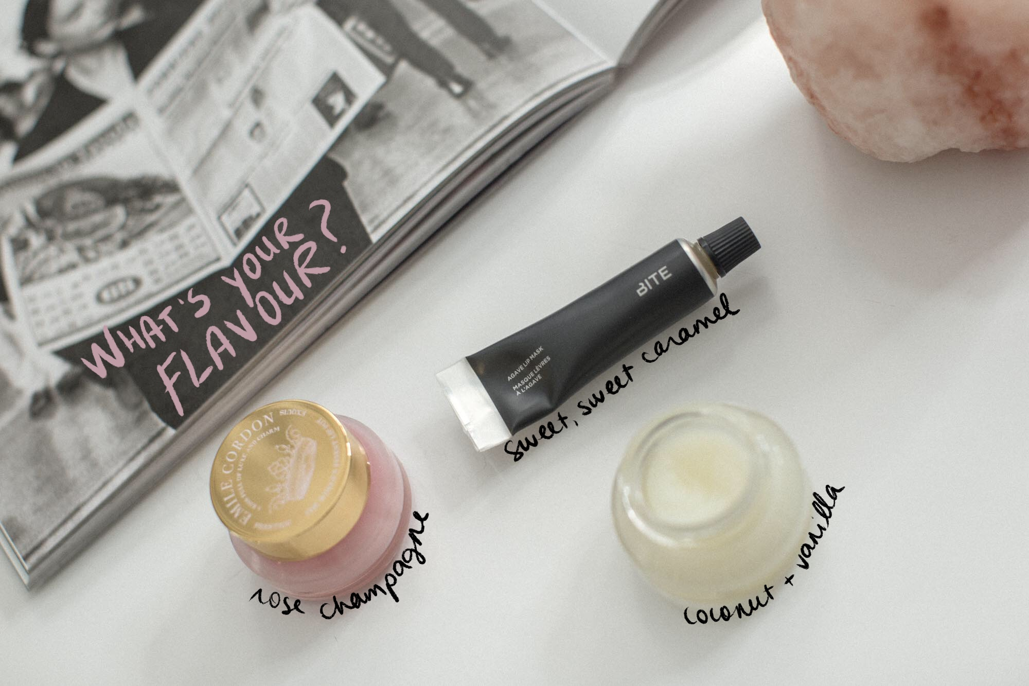 """Emile Cordon Cashmere-On Lip Pots in """"Coco"""" and """"Lisa"""", Bite Beauty Agave Lip Mask"""