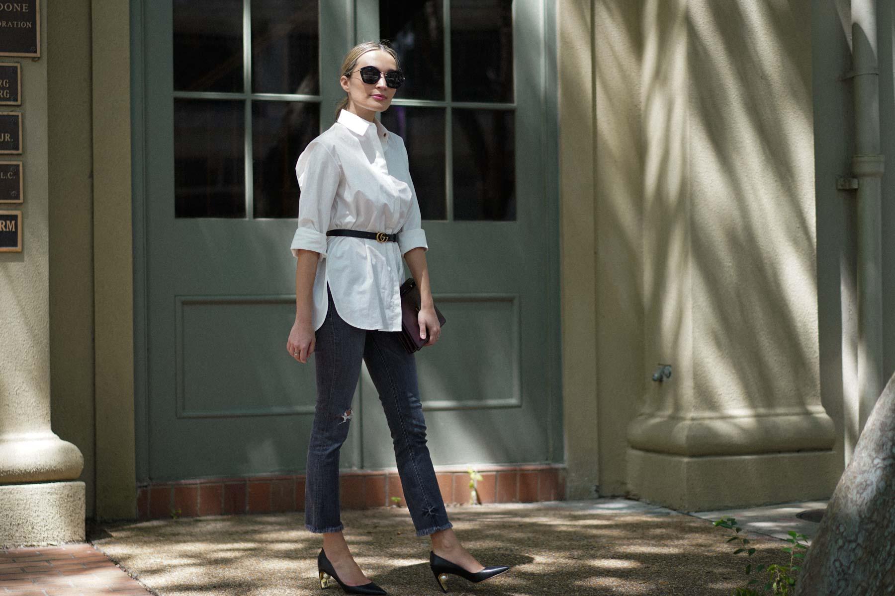 the row white shirt nicholas kirkwood pearl heels