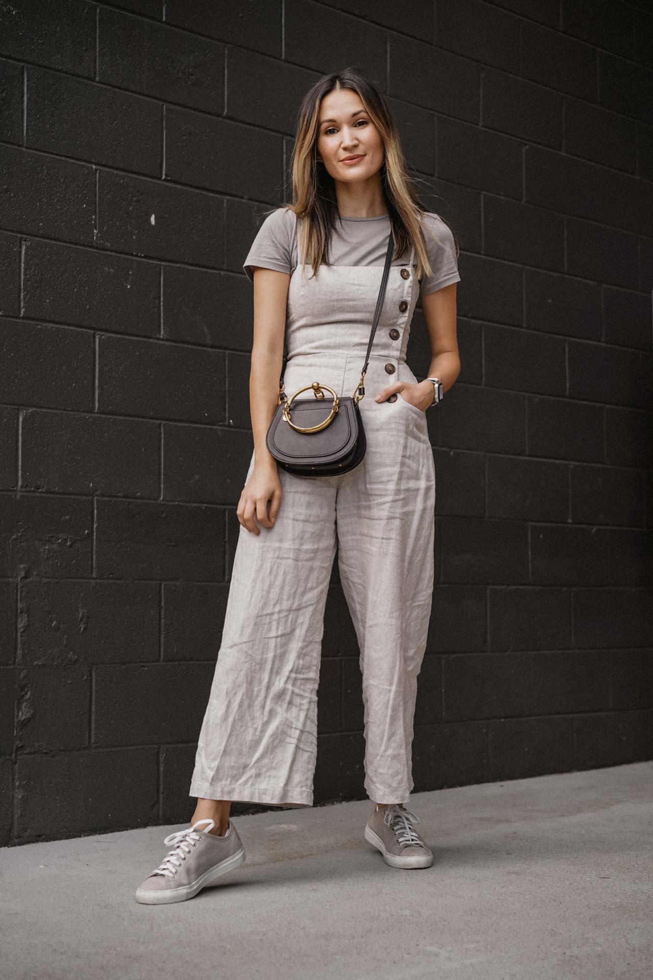 top   J Brand     jumpsuit  Reformation    bag   Chloe     sneakers   Diemme    (all old, similar items linked)