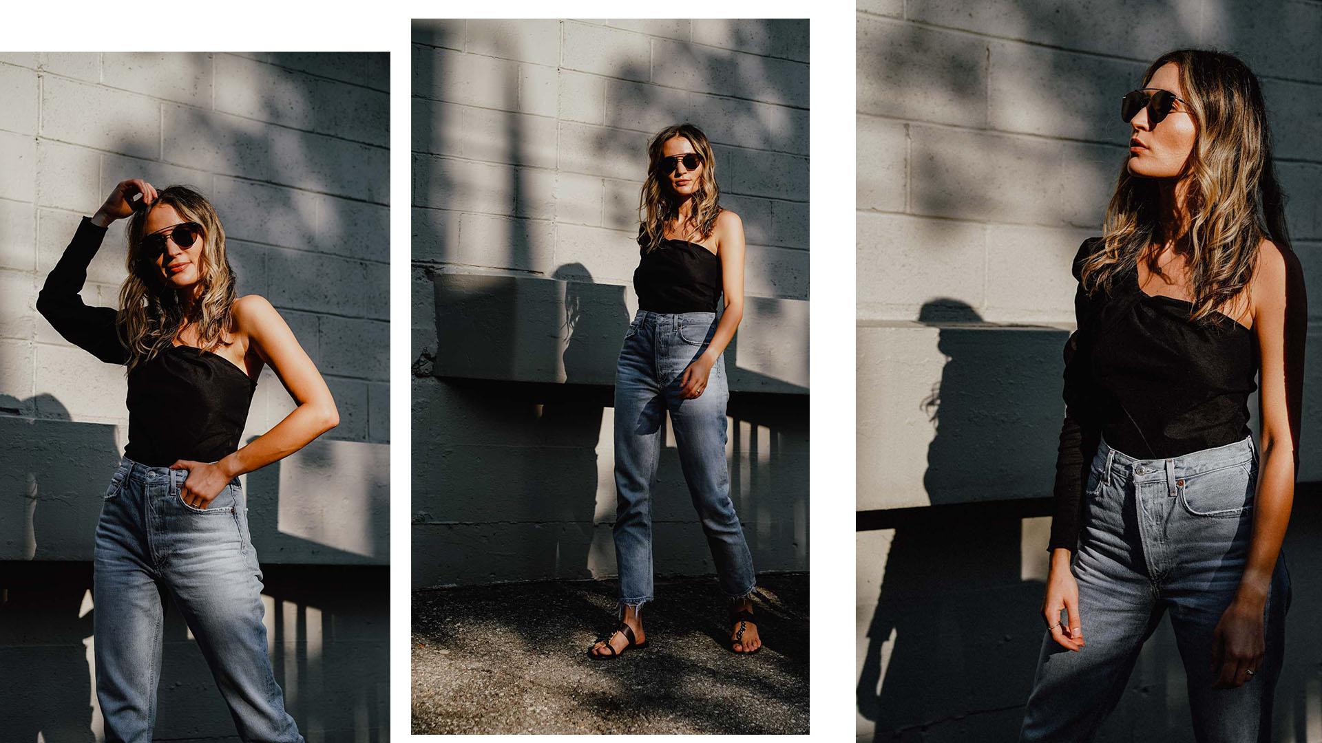 top   Zara     sunglasses   Dior Homme     jeans   AGOLDE     sandals   Gianvito Rossi