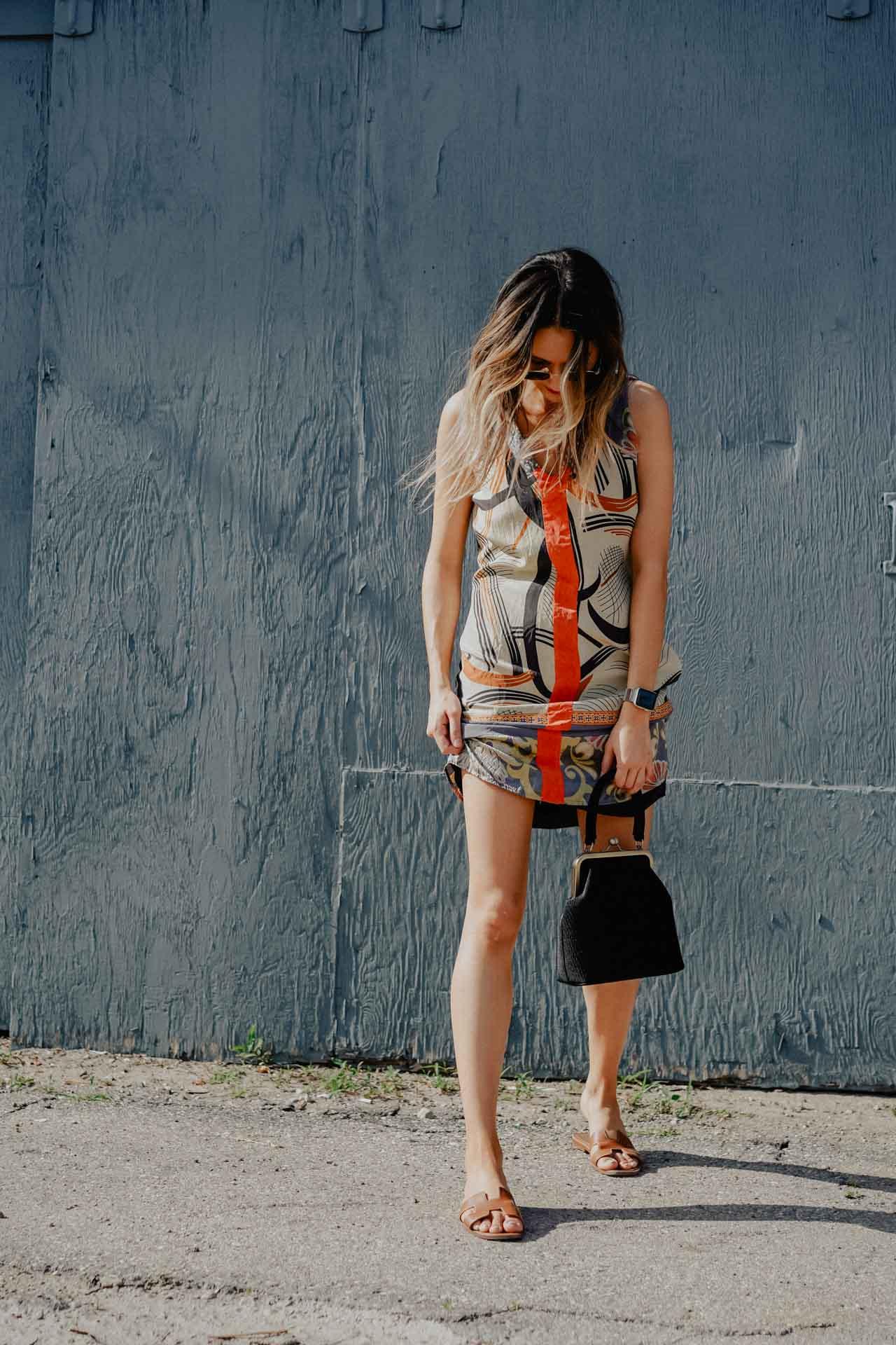 in this photo I'm wearing - silk dress Vintagevelvet bag Anthropologiesunglasses Ray Bansandals Hermes