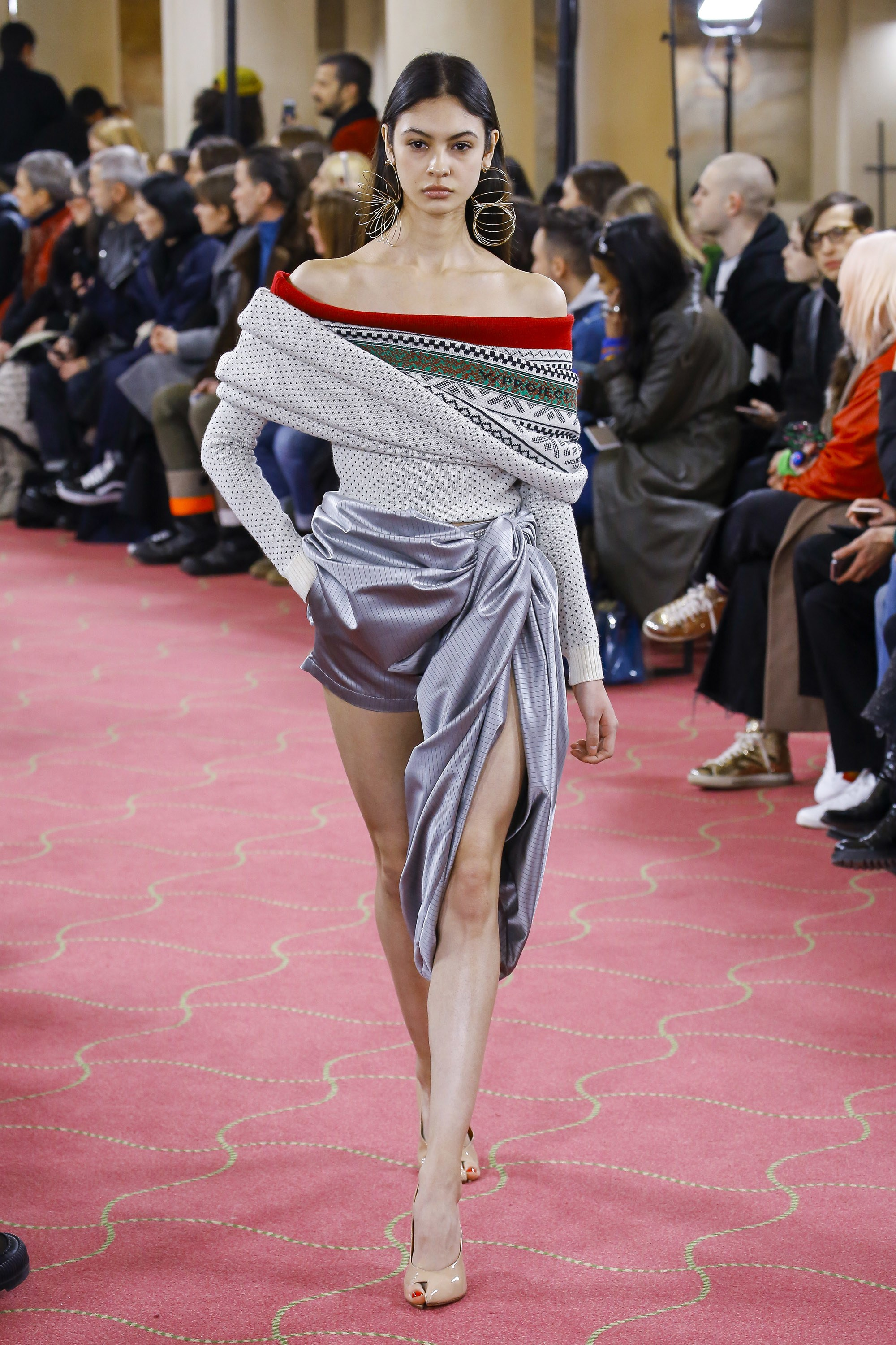 Y/PROJECT Off the Shoulder Knit, Draped Shorts, Open Toe Sandals and Slinky Earrings