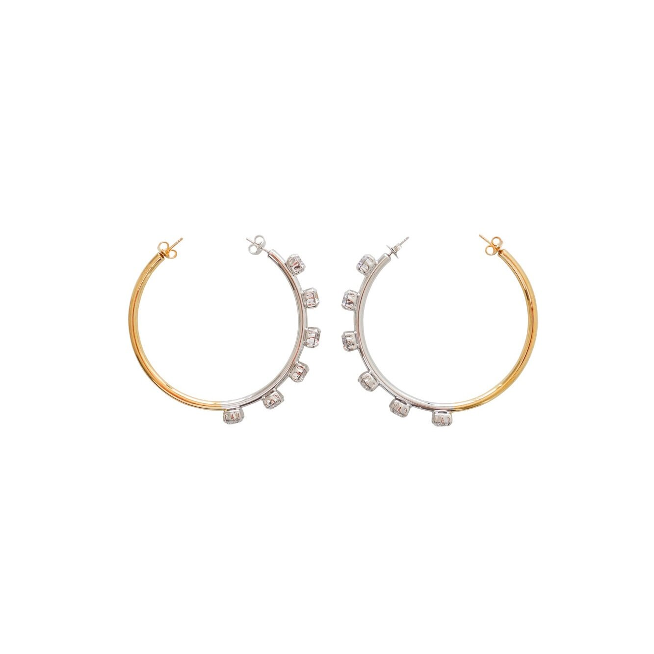 Vice Versa Hoops $769 - Dual wearButterfly backings on both ends, can be worn both waysGold plated silver 925 | Silver 925 | Zirconia SwarovskiMade in Italy