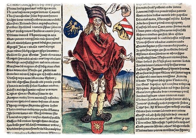 Albrecht Durer's illustration of a syphilitic man in a 1496 broadsheet.