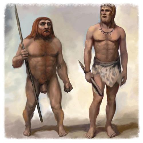 Brave Homo Sapiens and his stocky Neanderthal sidekick.