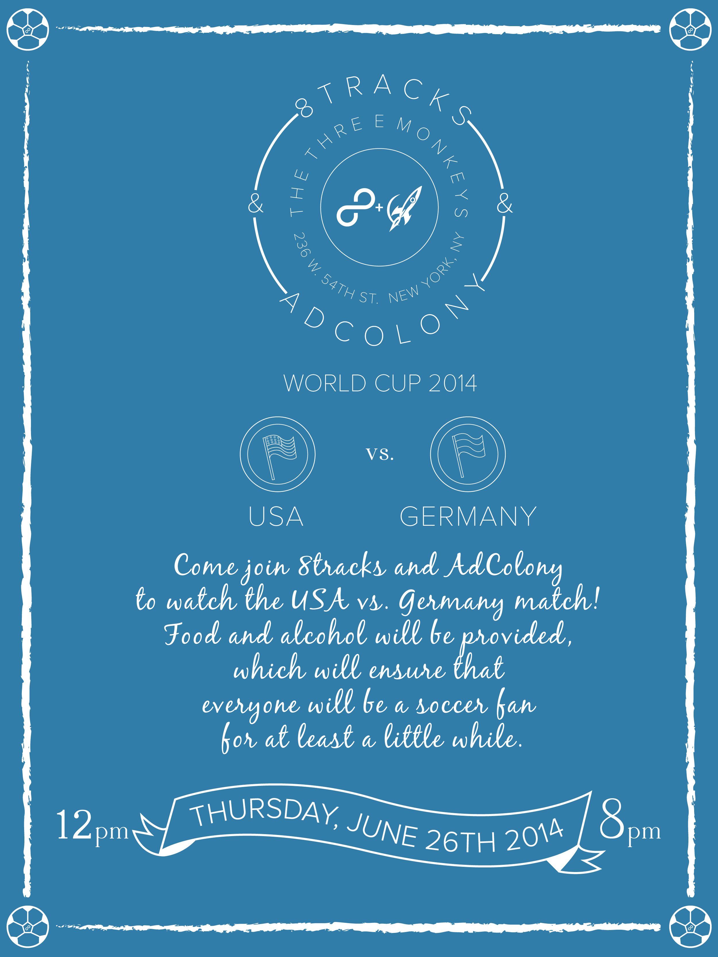 8tracks x Adcolony World Cup   brand/identity, visual design, print design