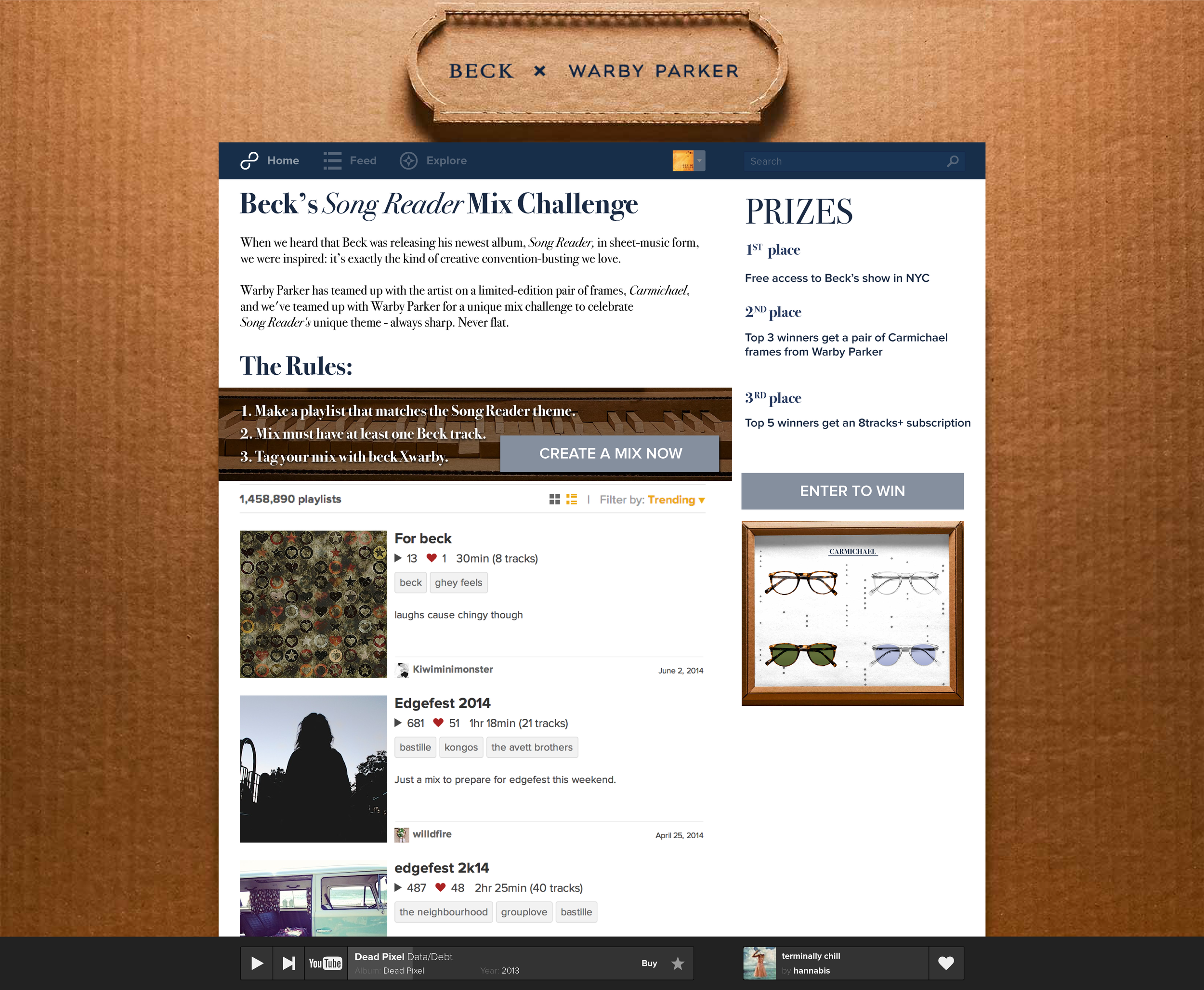 8tracks x Beck x Warby Parker Concept   brand/identity, web design, vis design