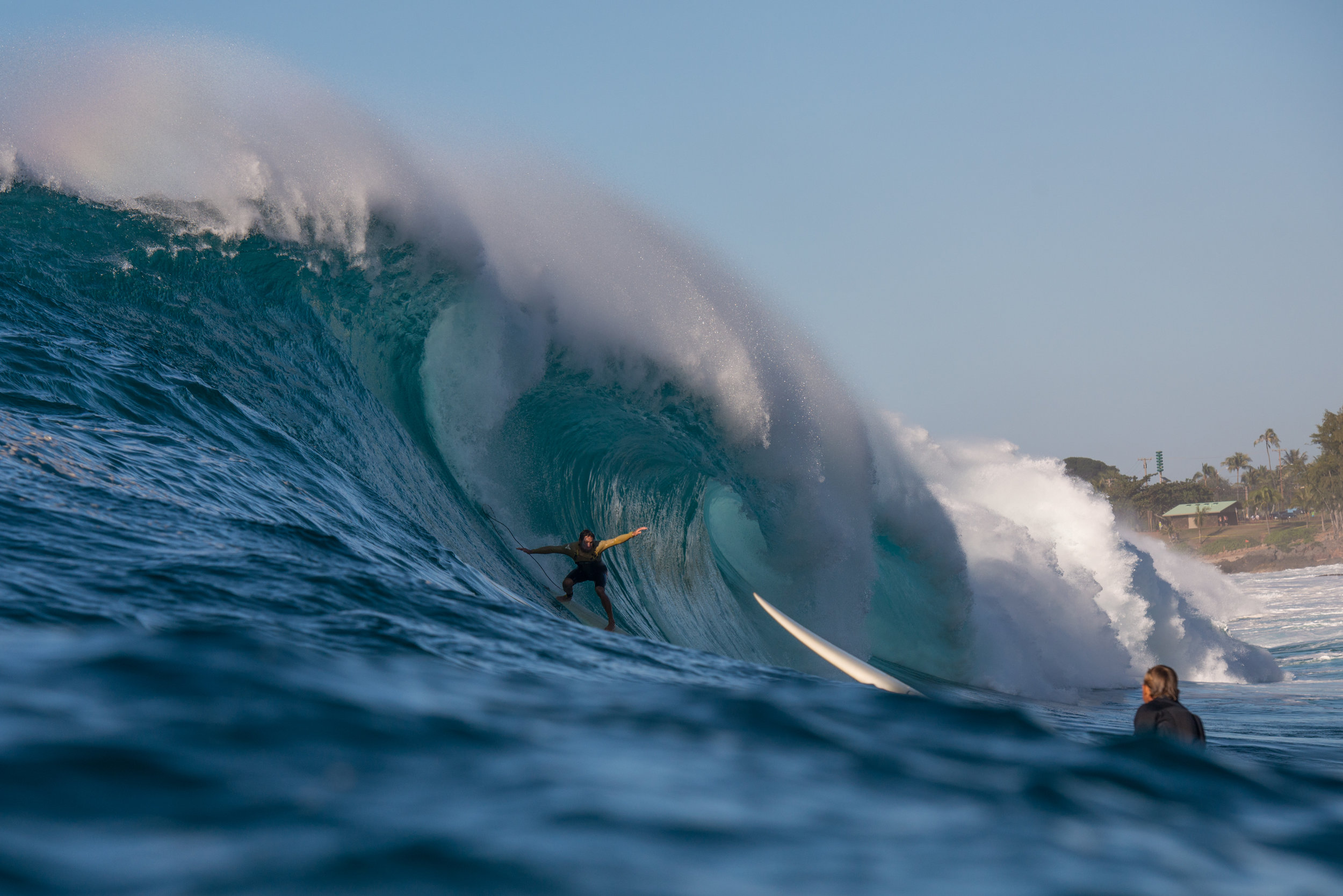 Shooting from the water at Waimea Bay