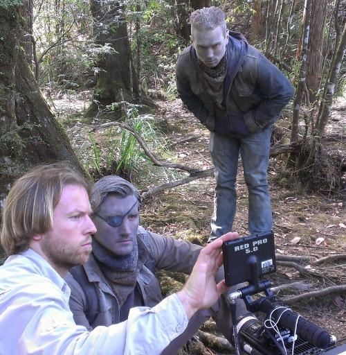 Jasom Trost (centre) on location for HOW TO SAVE US