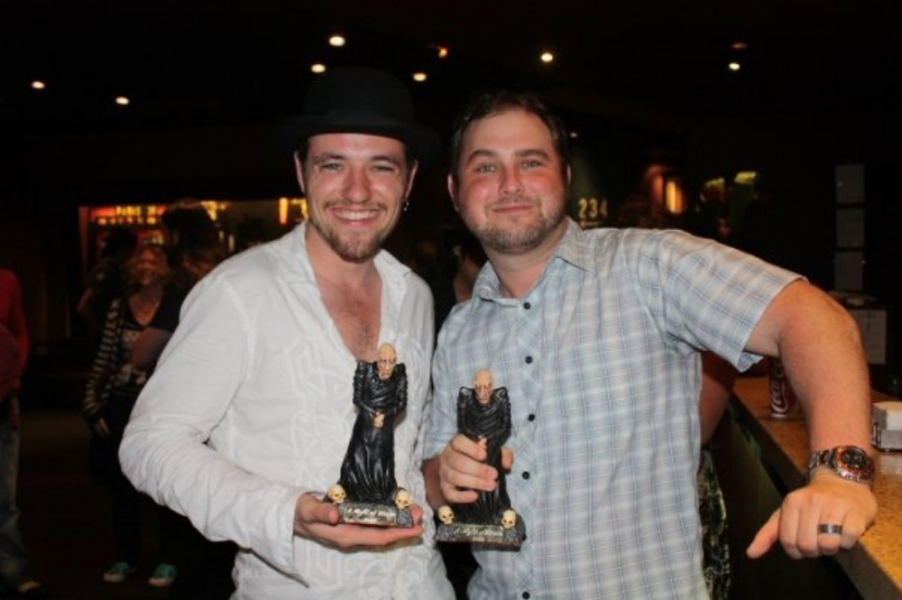 John Elfers (left) and Mike Masters (right) relaxing at the Dendy Newtown bar after A Night of Horror 2009 awards ceremony