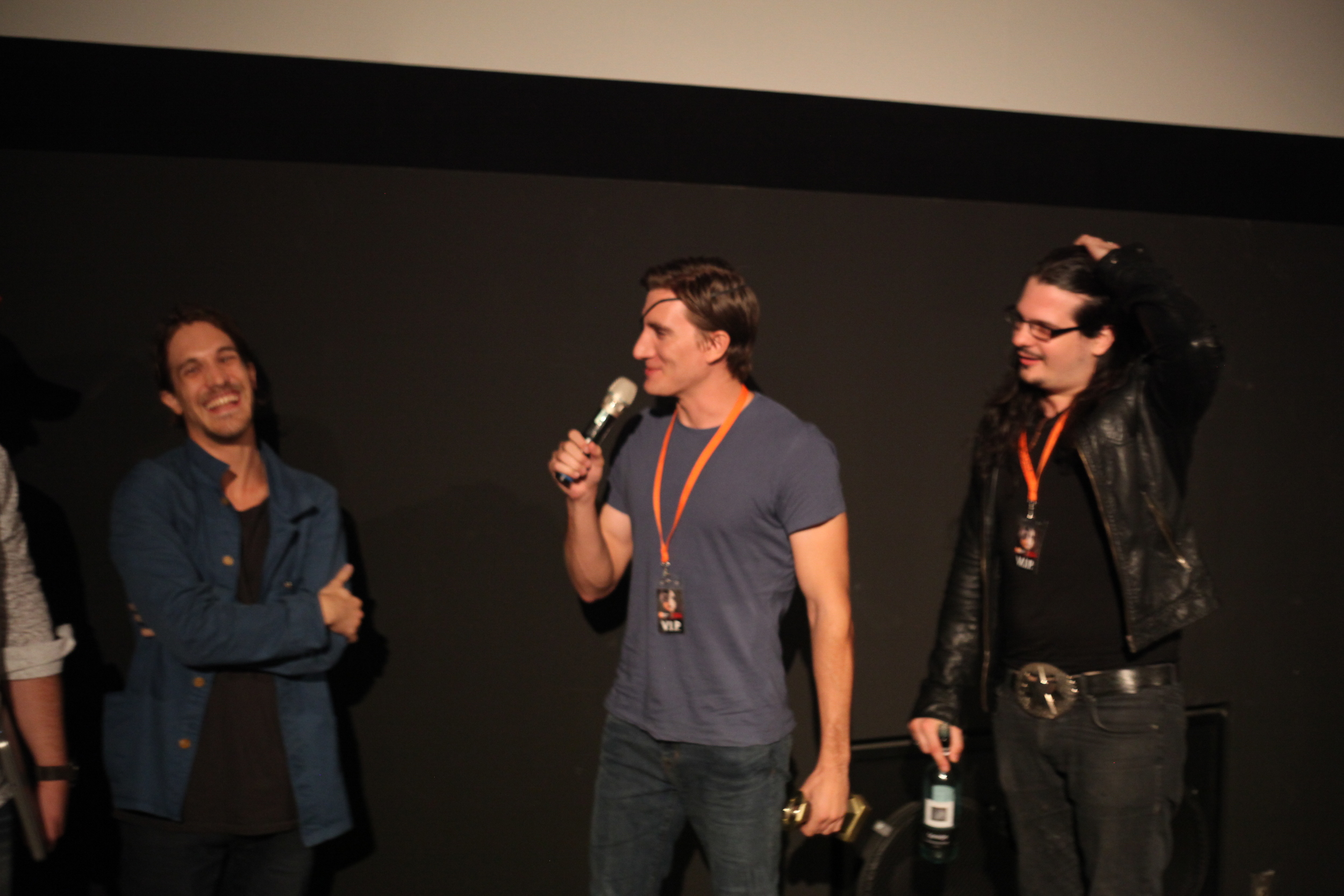(Left to Right), Festival Judge Steven Kastrissios, Jason Trost and David Hellmore from HOW TO SAVE US - Best Film, Best Director at Fantastic Planet Film Festival.