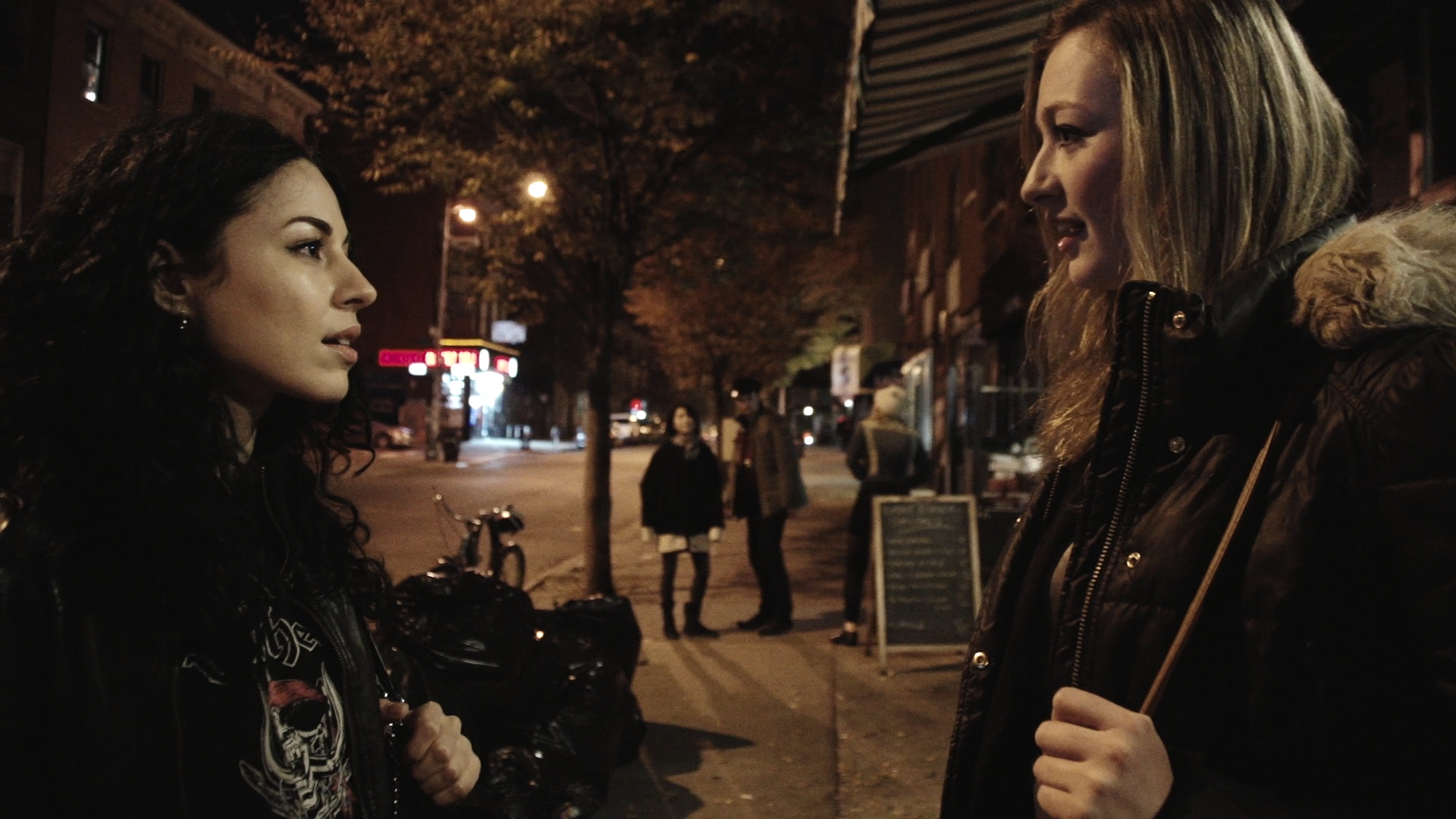 Pingo (Nicola Ferguson) right, has a chance encounter with an old friend, Dana (Jodi Ferguson) on the streets of NYC.