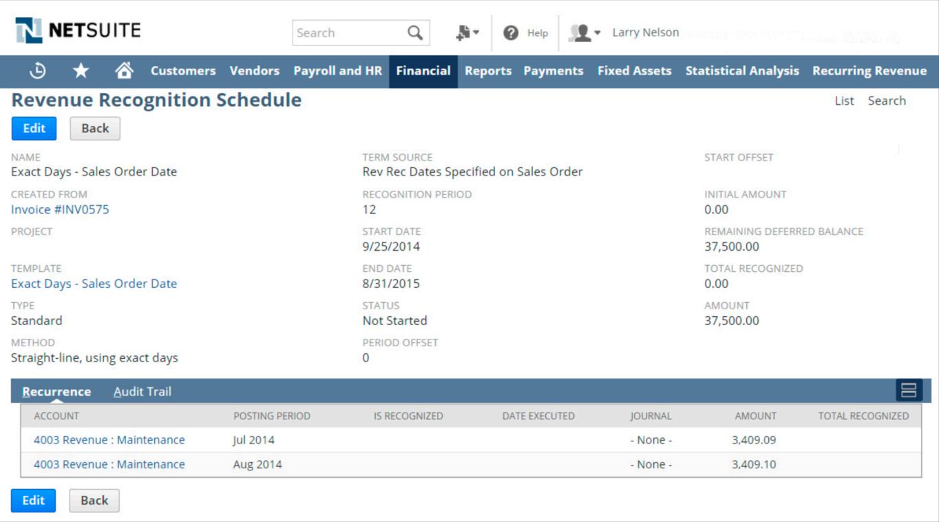 NetSuite Revenue Recognition