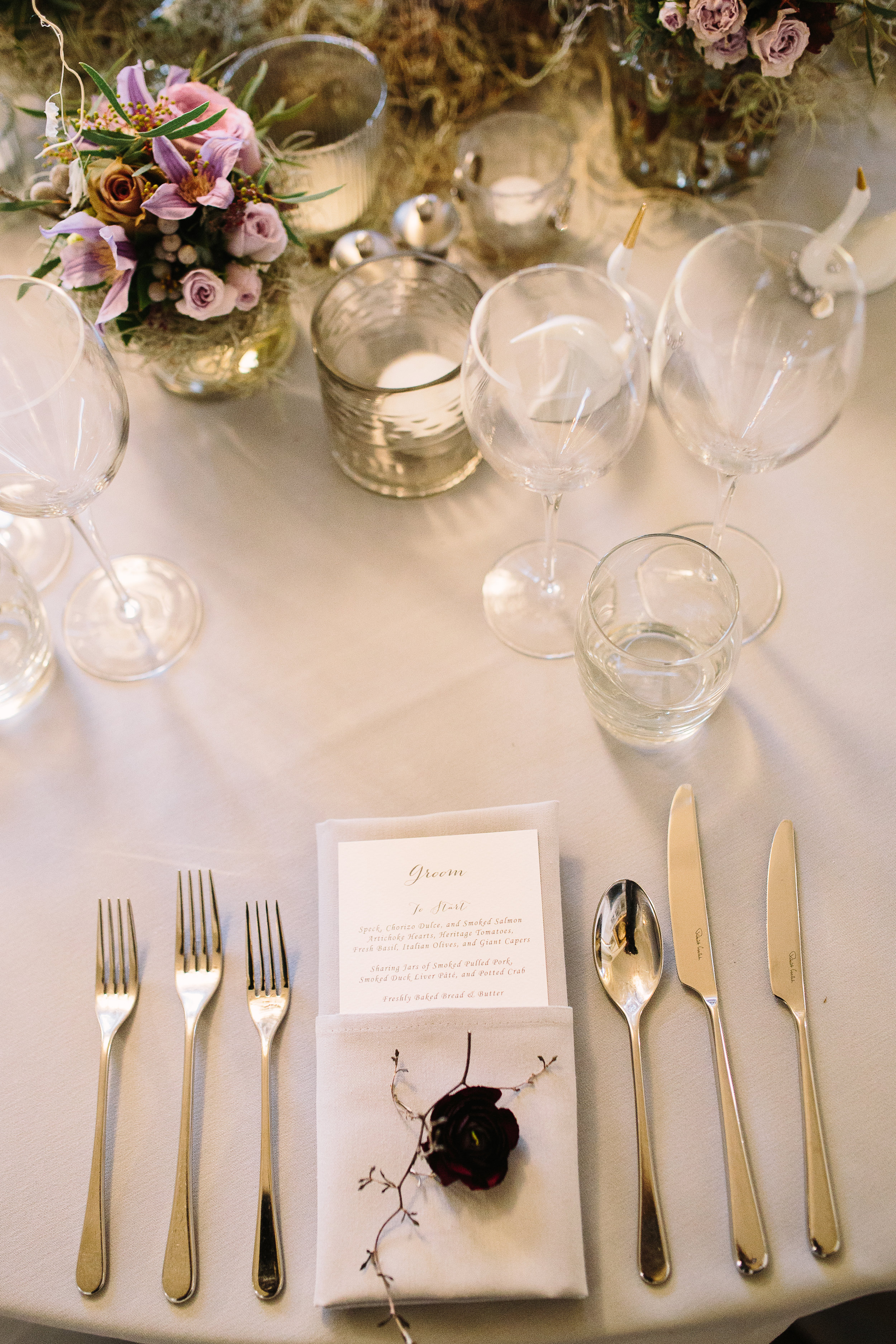Luxury Place Setting at Aynhoe Park | Oxford Wedding Planner Vanilla Rose Weddings