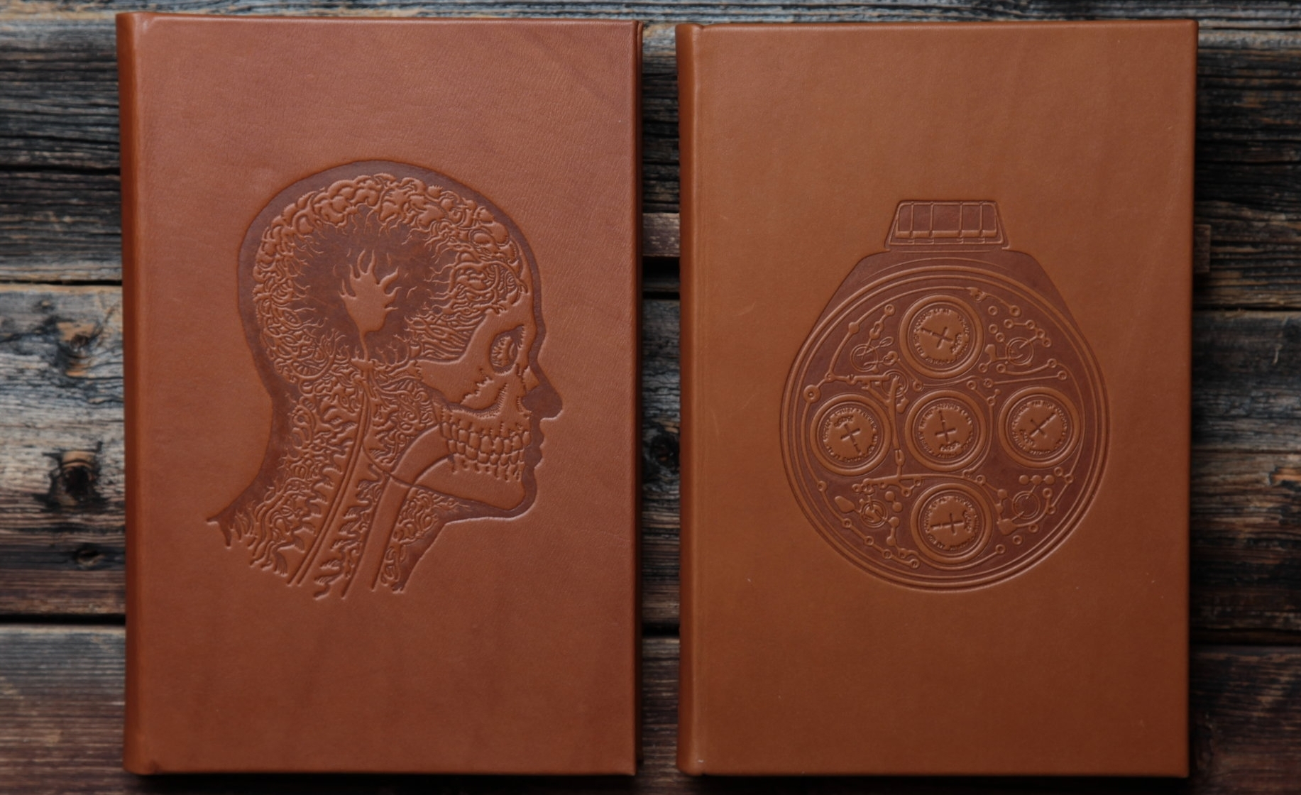 Cappelens Forslag's Conversational Lexicon, Vol. I (left) and Vol. II, calf skin hardcover versions.