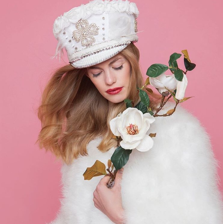 Elaborate embellished White Party Hat, perfect for burning man
