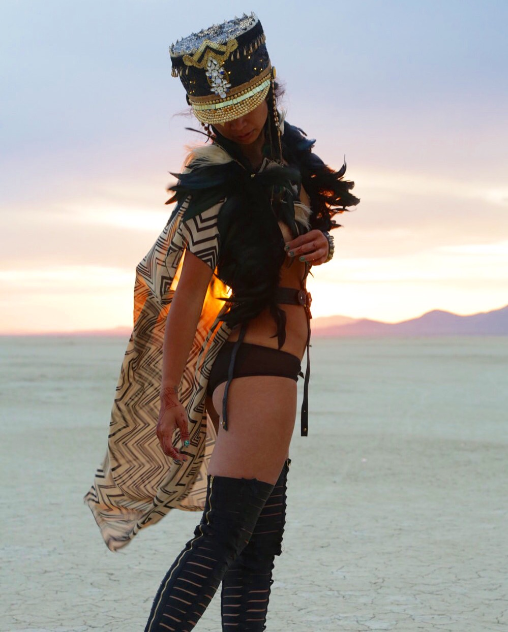 Love Khaos Kimono with feather collar, leather harness and burning man hat