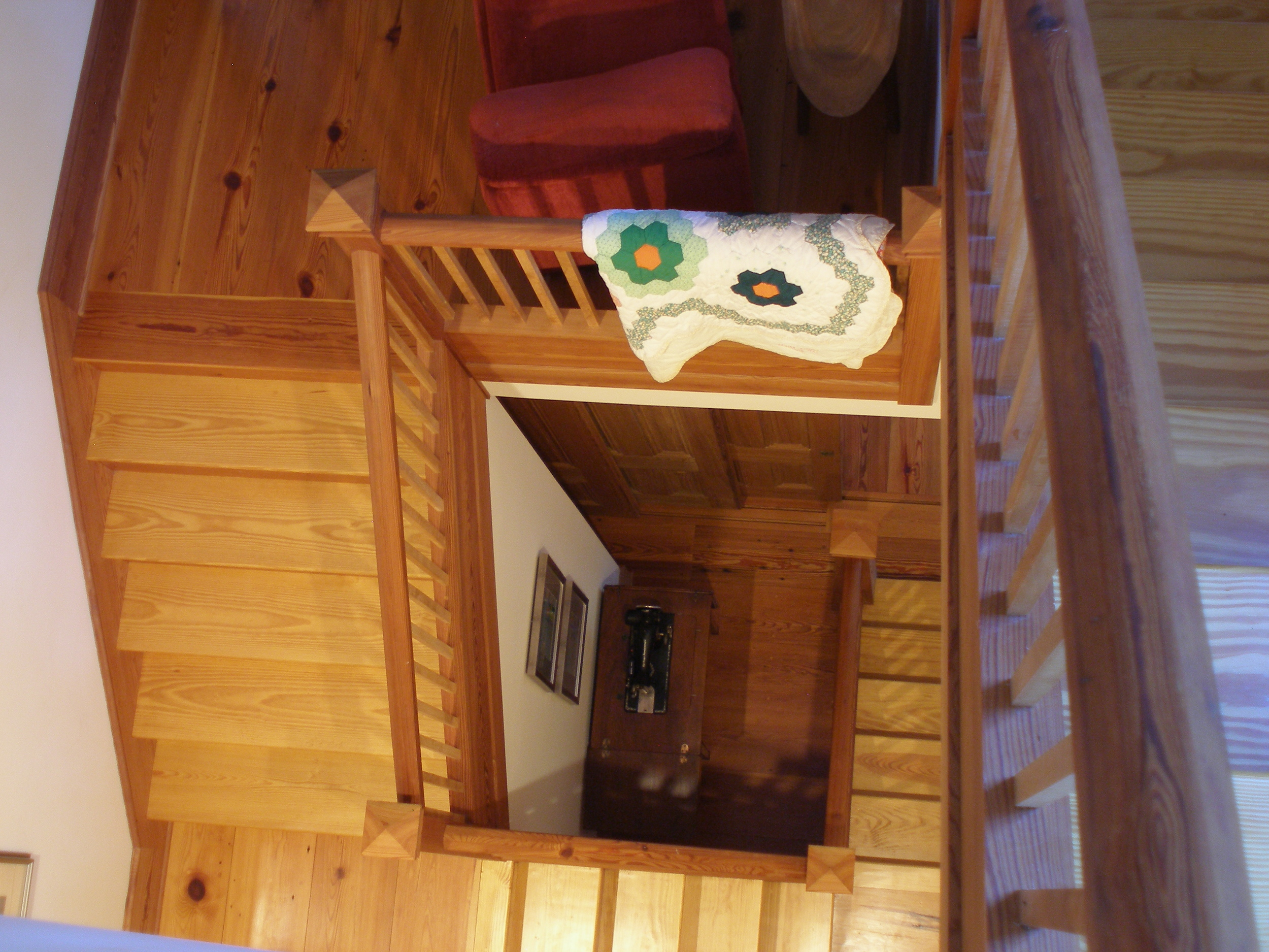 View of stairs from tower room.