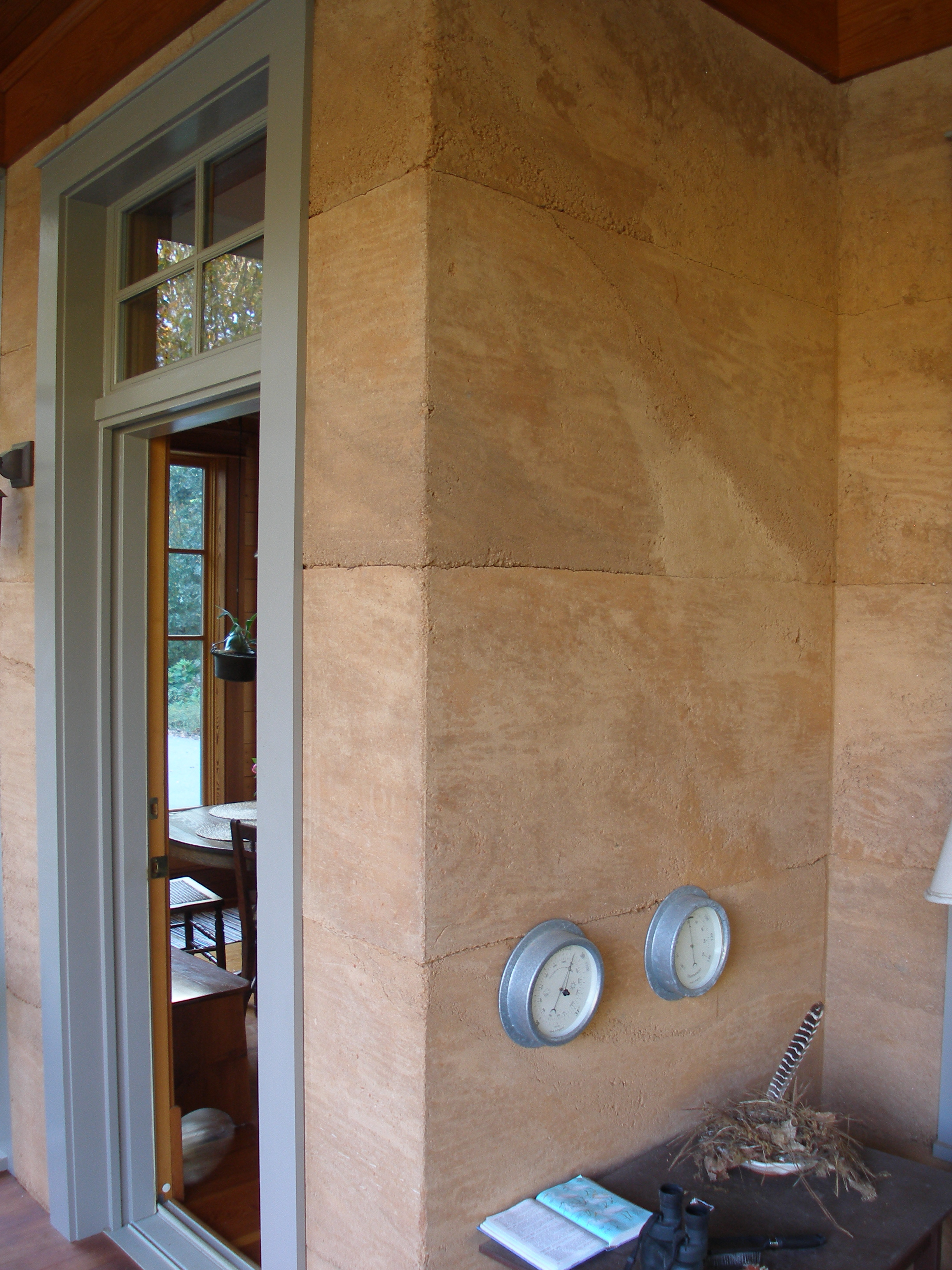 Detail of rammed earth walls.