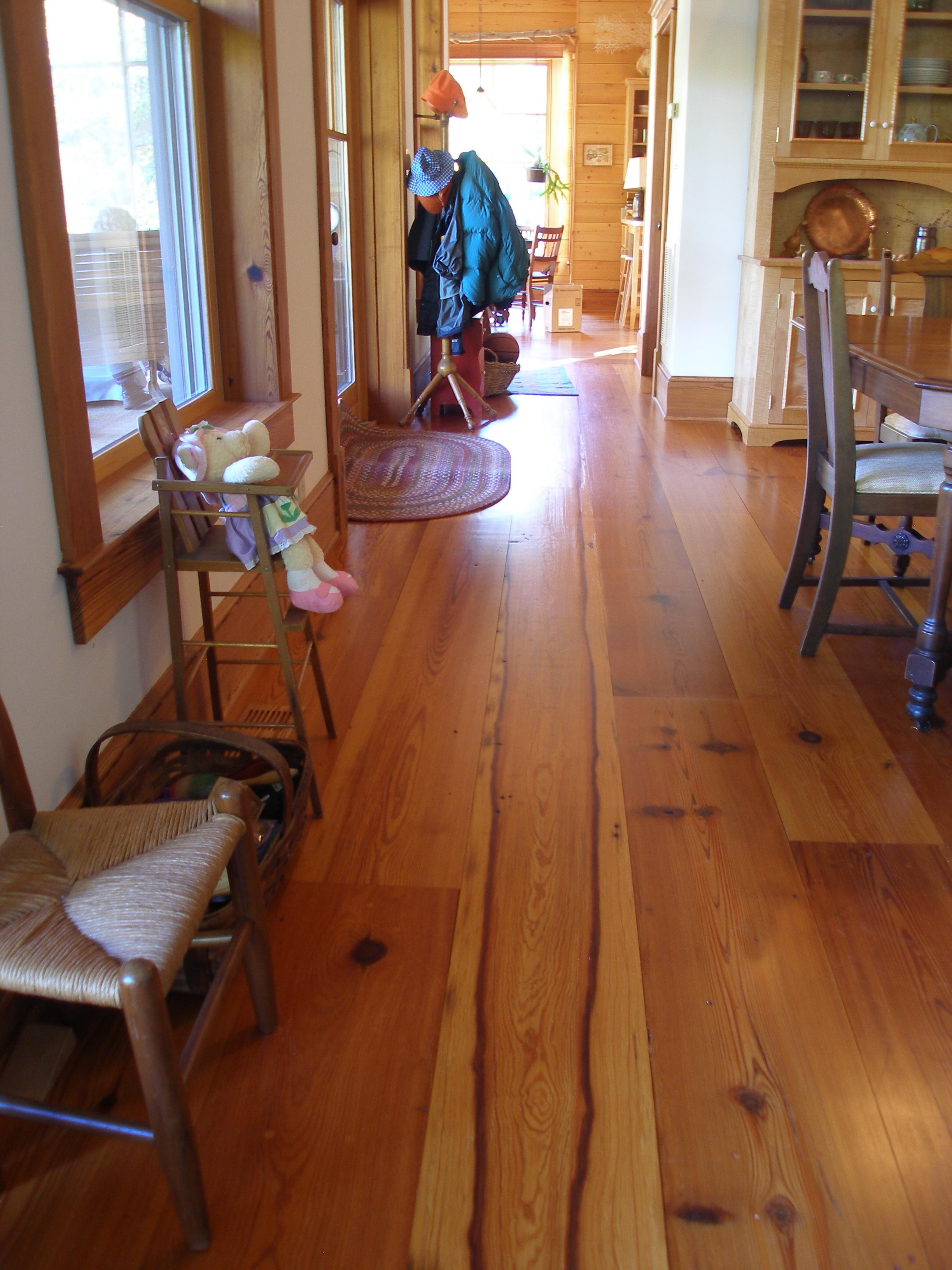 Special figure in wide heart pine floor boards.