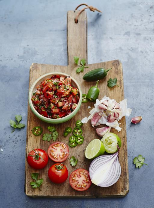 As the Food Revolution Ambassador for Palma de Mallorca, I try to incorporate at least one Jamie Oliver recipe in my cooking courses! This lunch will feature Jamie's Tomato Salsa!