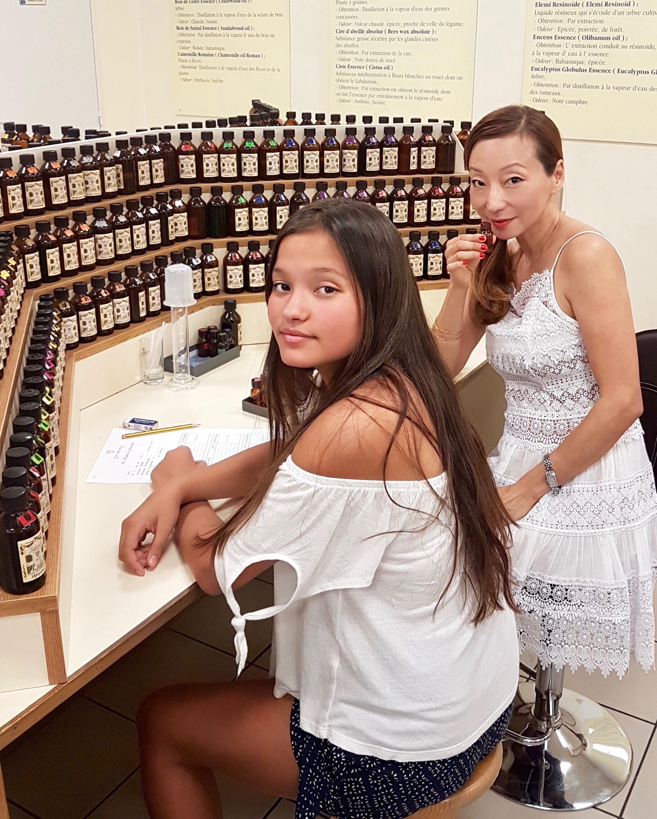 """My daughter Gigi and I collaborating on our perfume, which ended up being called """"Rose de Gigi."""""""