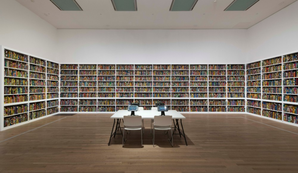 The British Library, 2014, by Yinka Shonibare, Tate Modern 2019 © Yinka Shonibare. Photograph Oliver Cowling, Tate. Purchased with Art Fund support and funds provided by the Tate International Council, the Africa Acquisitions Committee, Wendy Fisher and THE EKARD COLLECTION, 2019