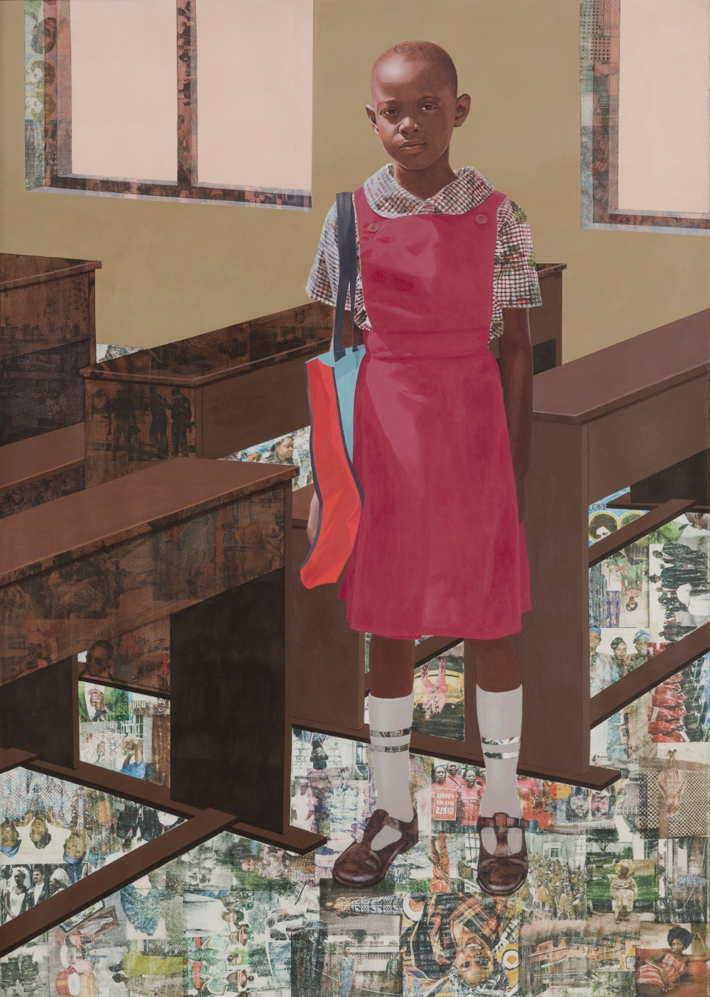 "Njideka Akunyili Crosby   ""The Beautyful Ones"" Series #6 , 2018Acrylic, colour pencil and transfers on paper 151.8 x 108 cm 59 3/4 x 42 1/2 in © Njideka Akunyili Crosby Courtesy the artist, Victoria Miro, and David Zwirner"