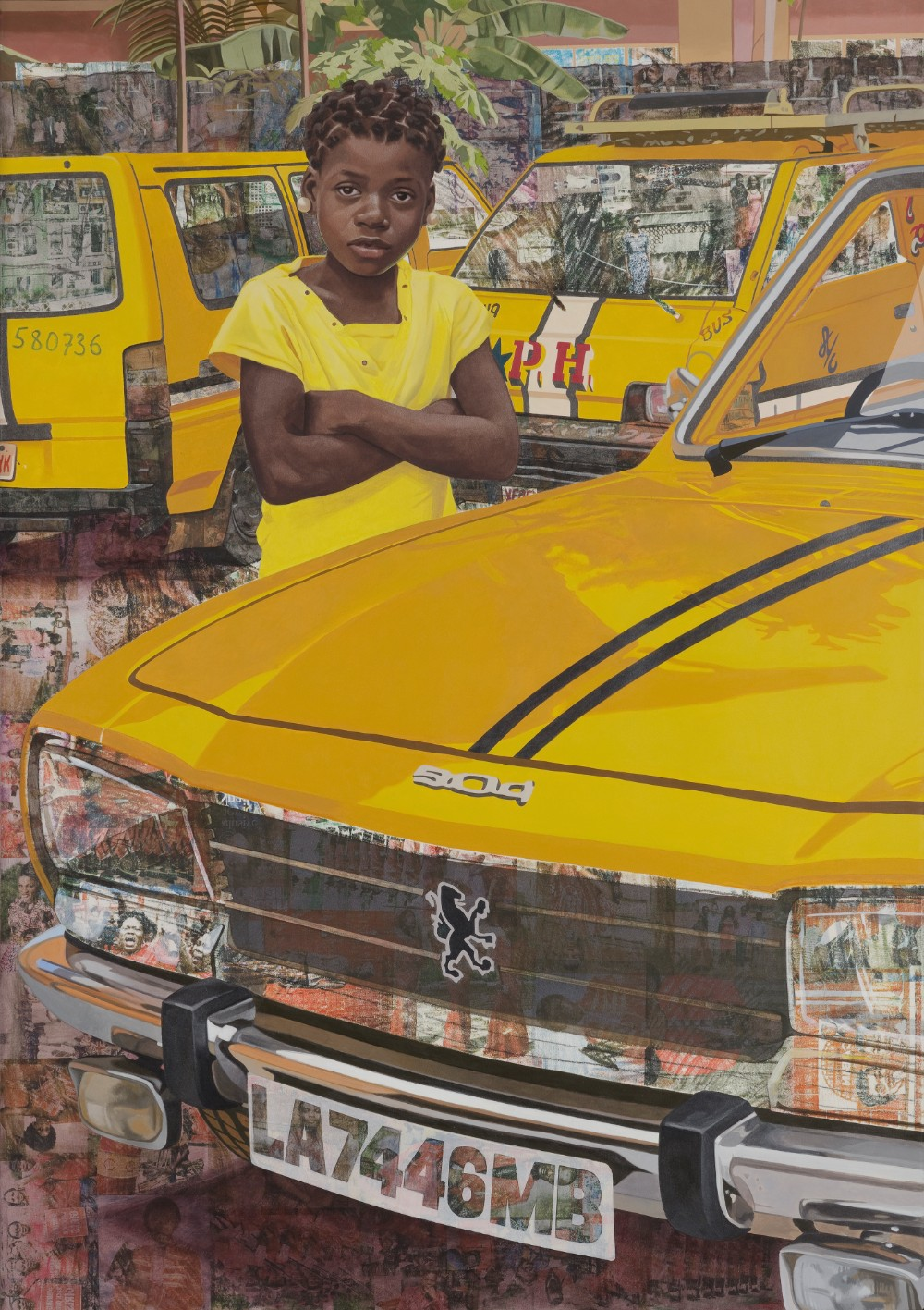 "Njideka Akunyili Crosby   ""The Beautyful Ones"" Series #7 , 2018 Acrylic, colour pencil and transfers on paper 152.1 x 108 cm 59 7/8 x 42 1/2 in © Njideka Akunyili Crosby Courtesy the artist, Victoria Miro, and David Zwirner"