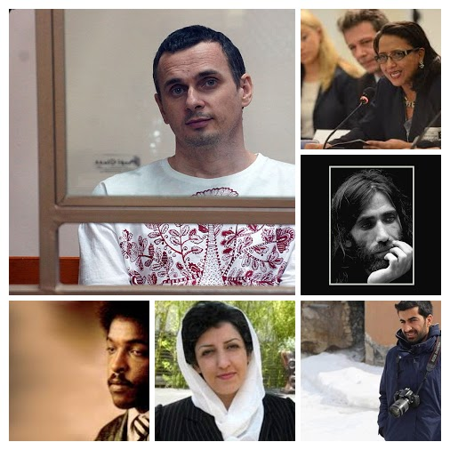 Clockwise from top left: Oleg Sentsov, Dina Meza, Behrooz Boochani, Nedim Türfent, Narges Mohammadi and Dawit Isaak.