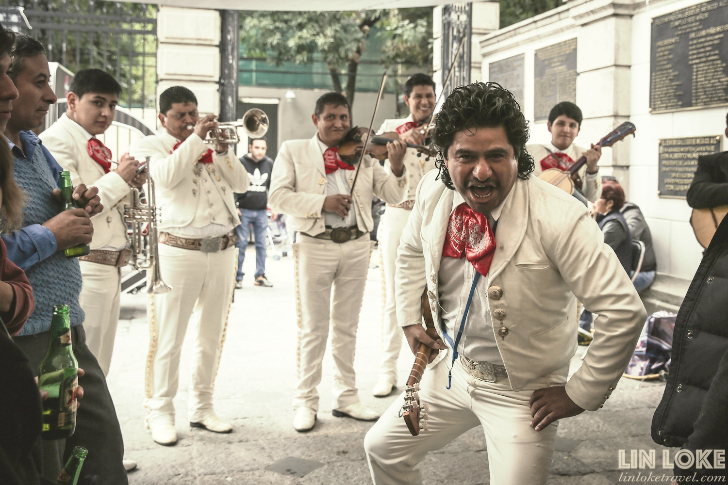 A Mariachi band playing at a pop-up vintage fair