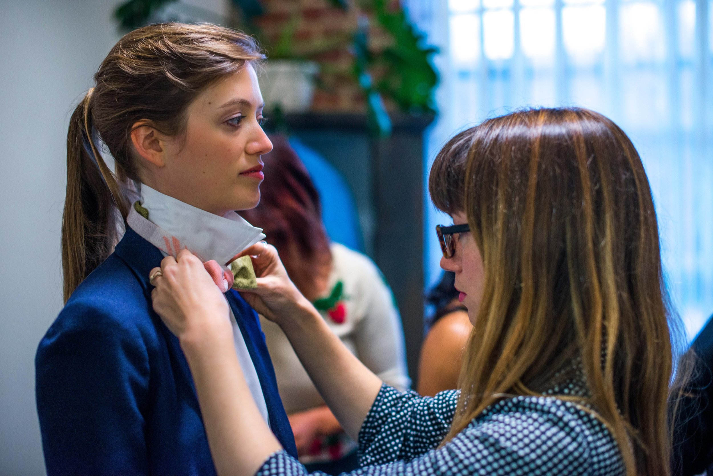 Behind the scenes of the styled shoot.  Richmond Thread Lab  styles our model. Photo by  Melodie Ann Photography .