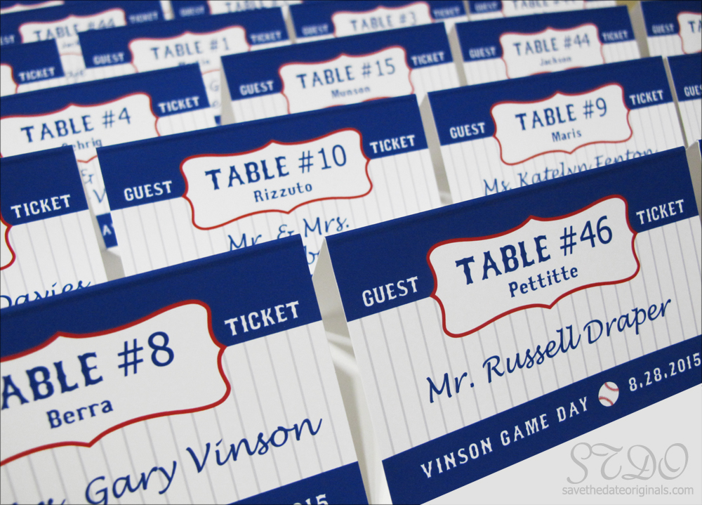 Save the Date Originals baseball-themed table namecards