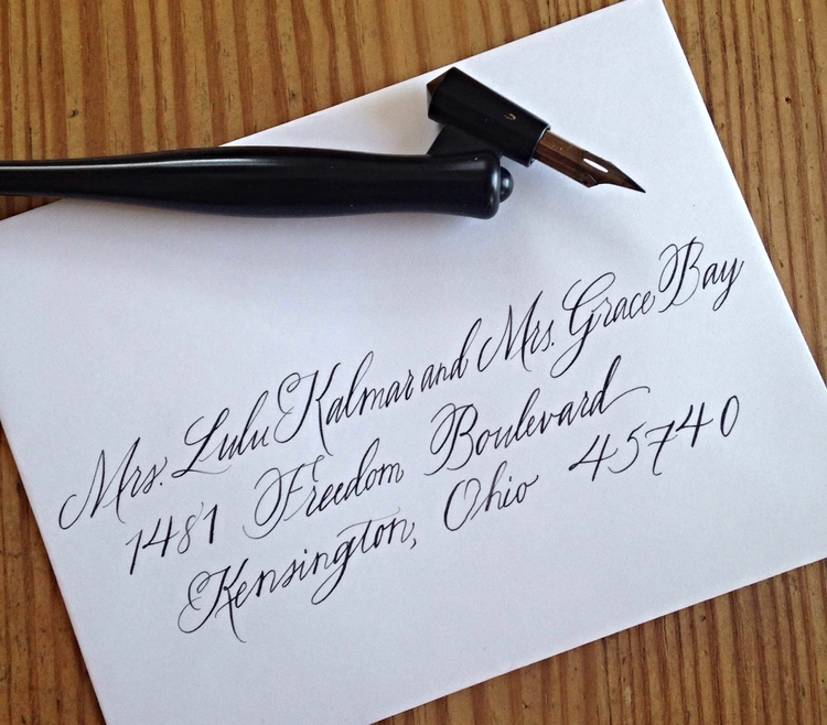 Abby Farson Pratt Wedding Calligraphy married different surnames