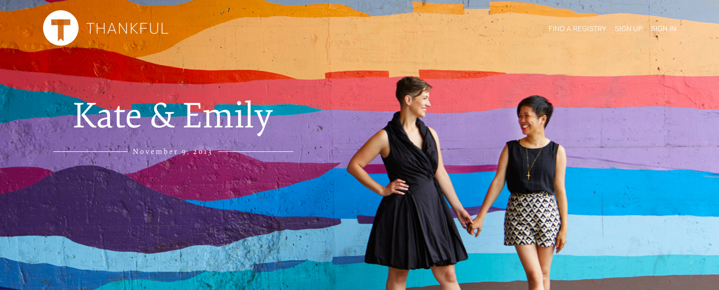 Thankful Wedding Registry example registry banner