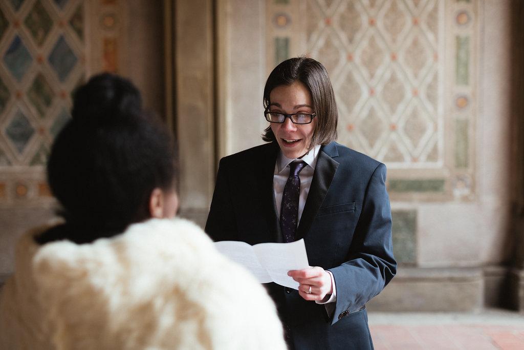 Ash Carr Wedding Photography New York bride reading vows
