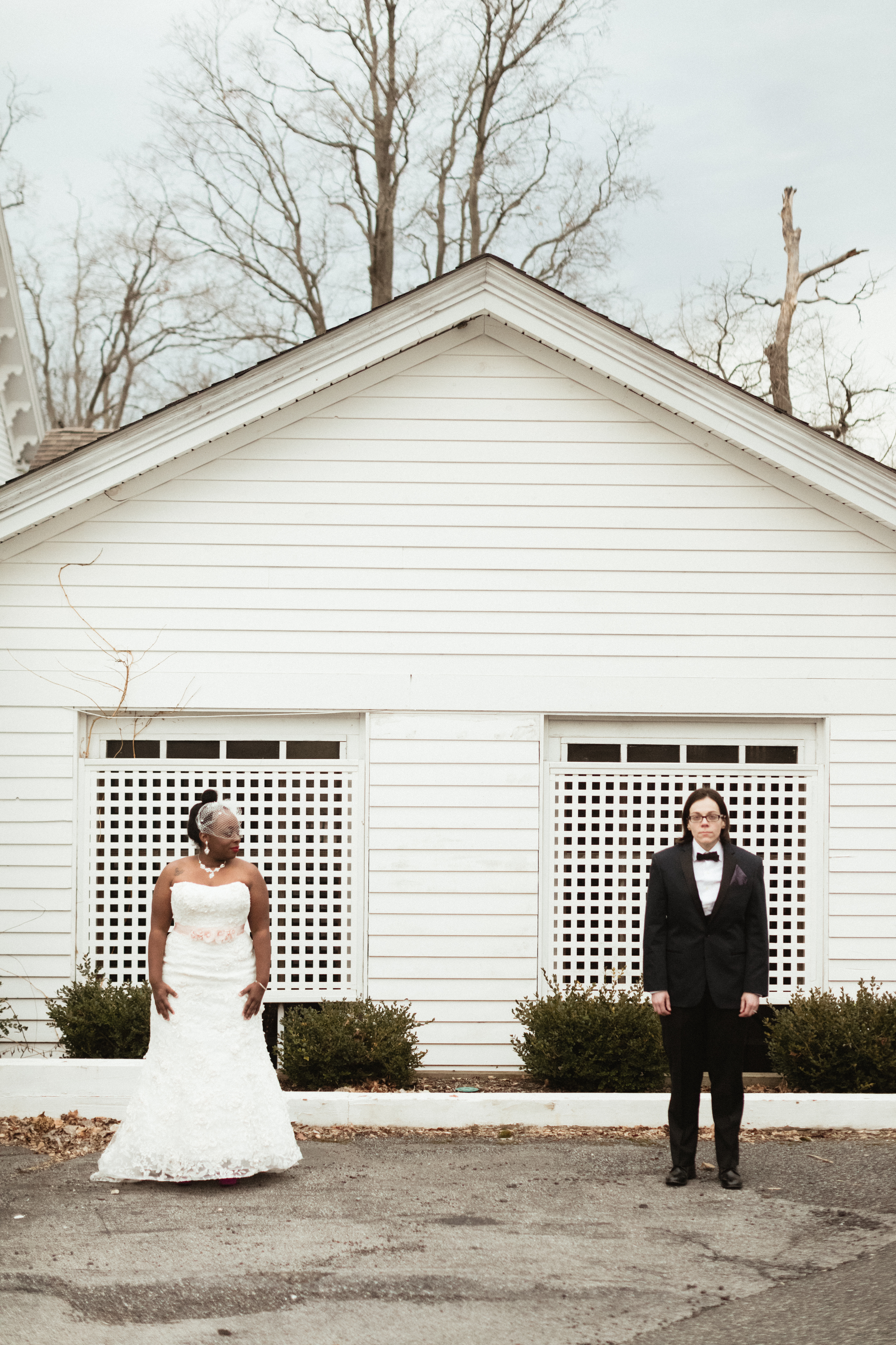 Ash Carr Wedding Photography New York couple in front of house