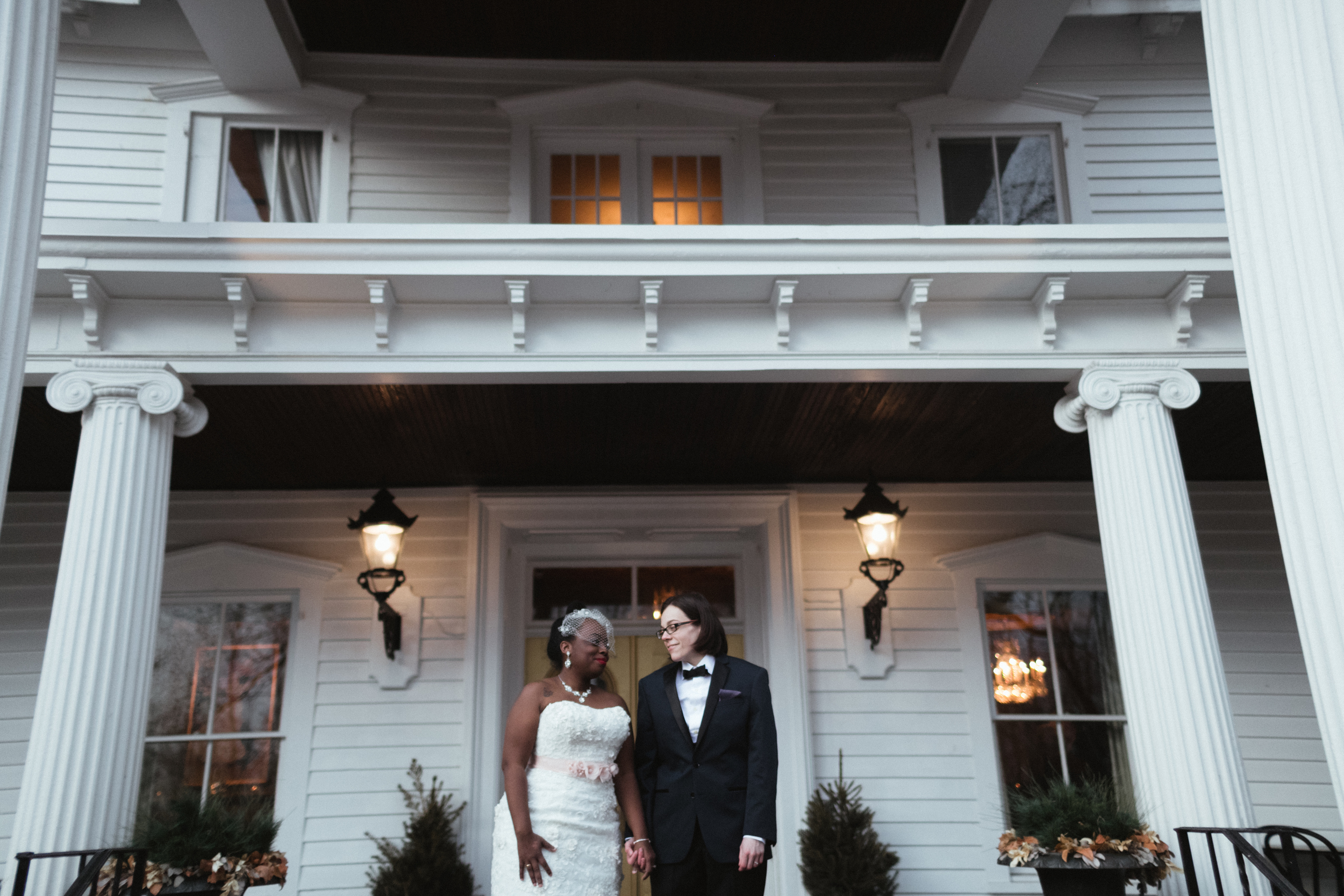Ash Carr Wedding Photography New York couple on porch