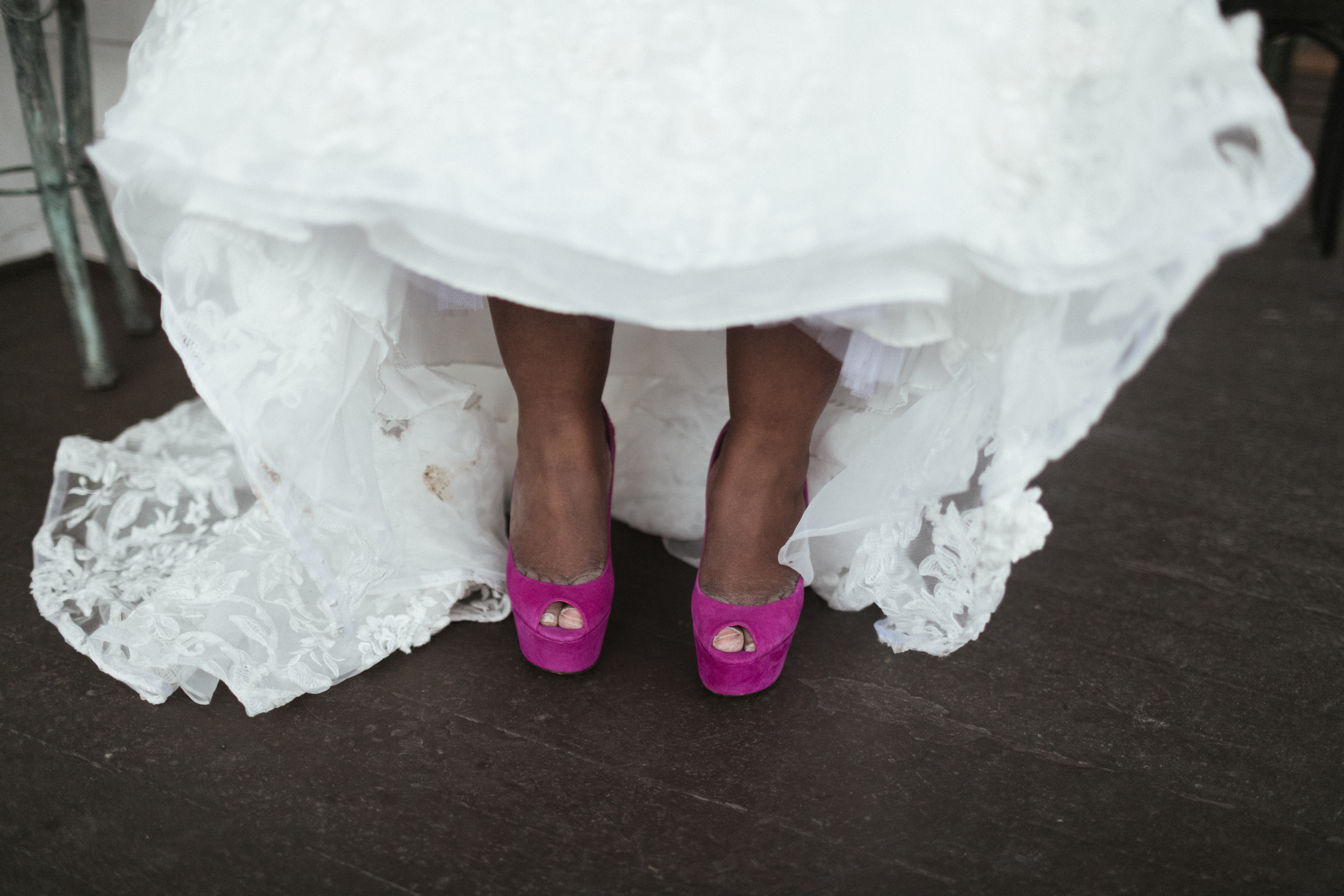 Ash Carr Wedding Photography New York bride's pink high heels