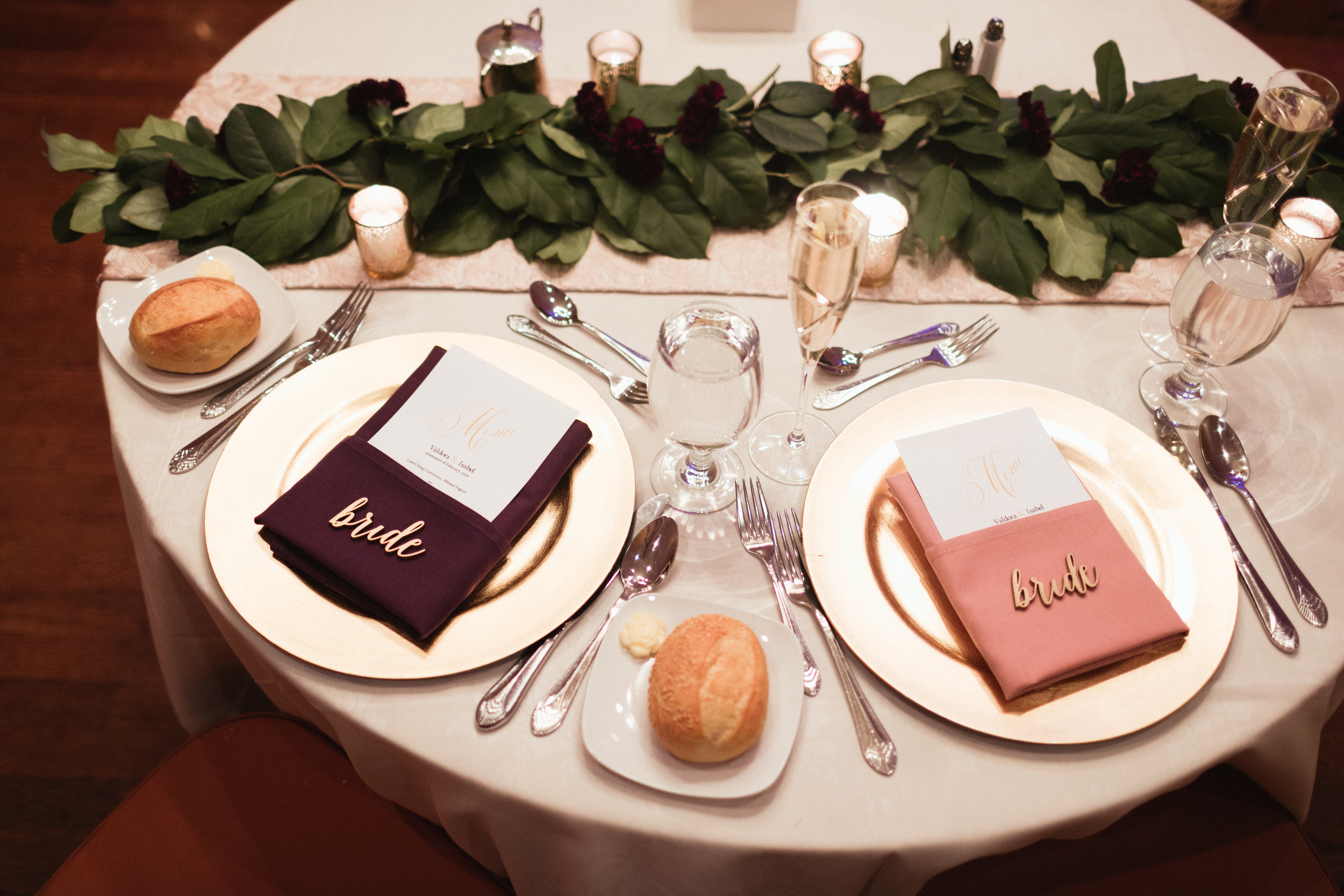 Ash Carr Wedding Photography New York brides' place settings