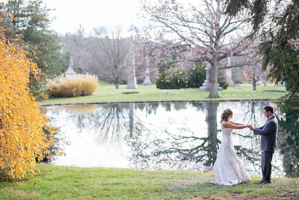 Corey and Alex Larrison Wedding Photography Cincinnati couple near lake