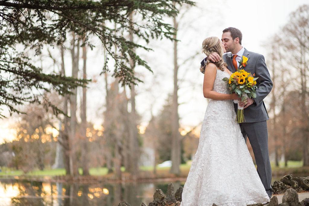 Corey and Alex Larrison Wedding Photography Cincinnati couple kissing
