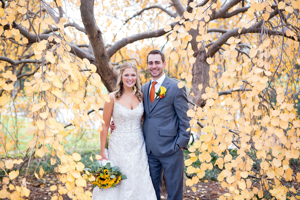 Corey and Alex Larrison Wedding Photography Cincinnati couple in front of tree