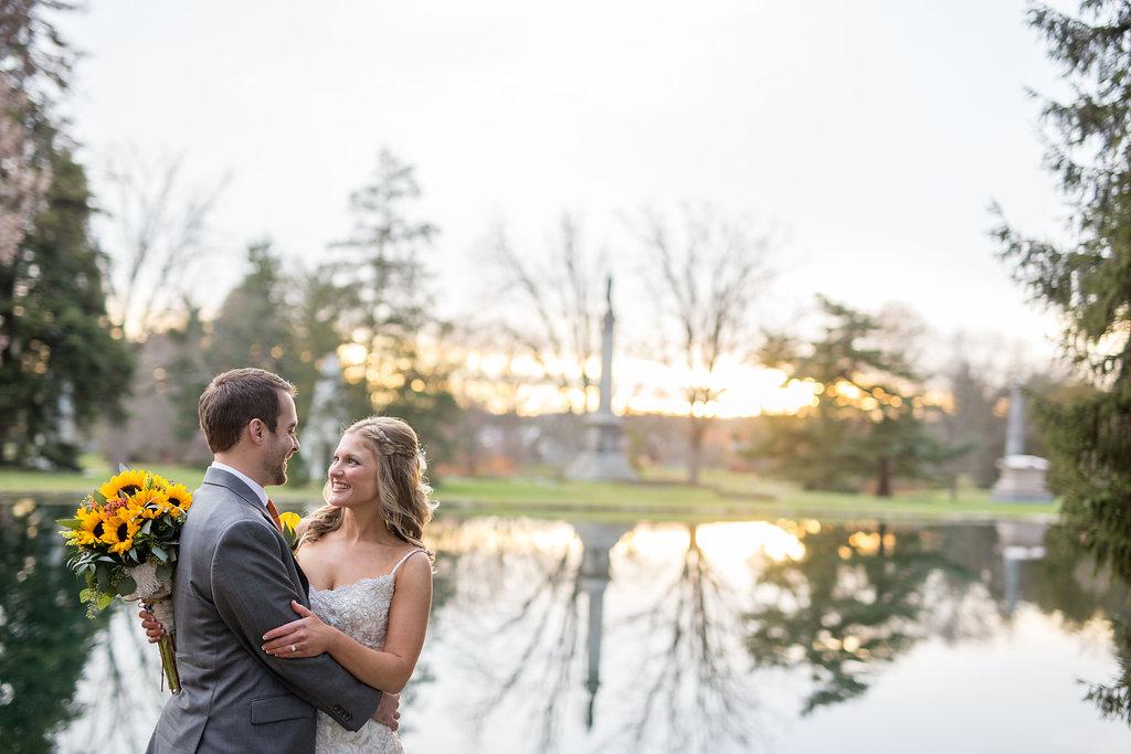 Corey and Alex Larrison Wedding Photography Cincinnati couple beside lake