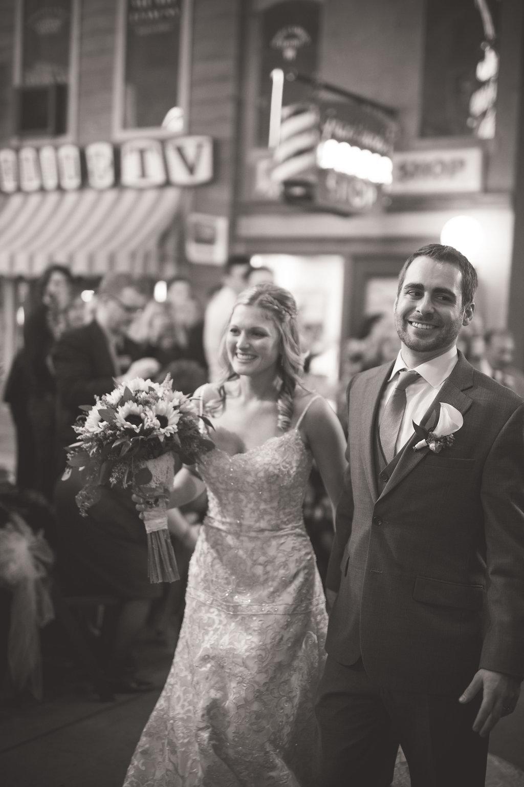 Corey and Alex Larrison Wedding Photography Cincinnati couple walking down the aisle