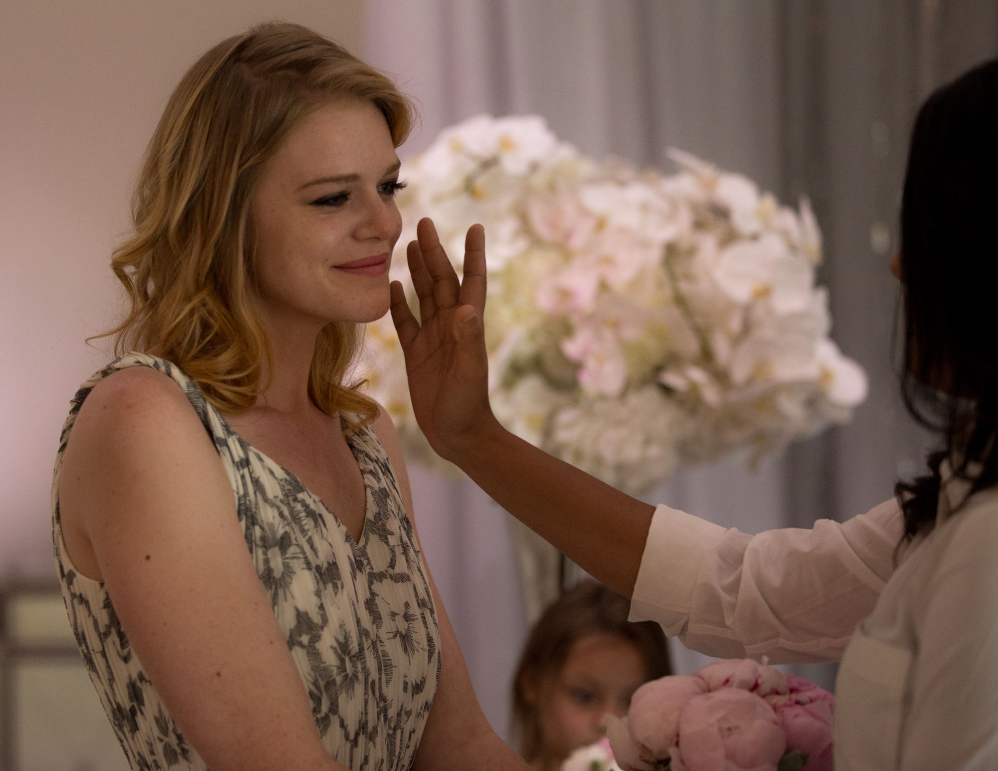 Colleen Stavrakos Wedding Photography bride reaching for fiancée's cheek