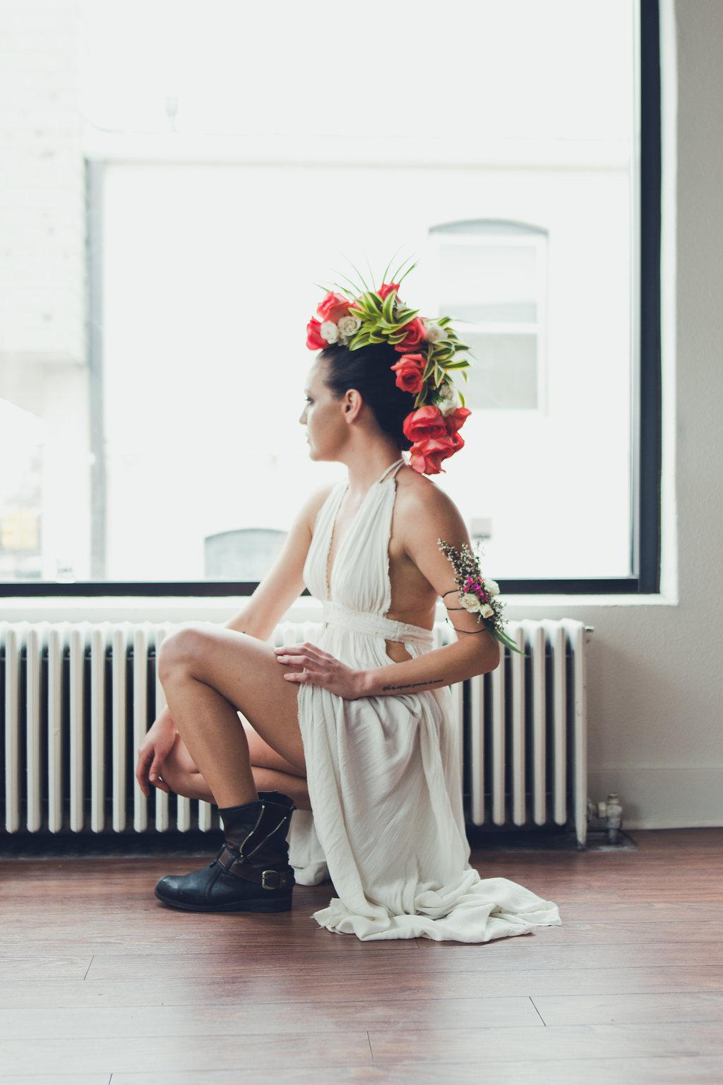 Lisa Rundall Wedding Photography Colorado model kneeling by window