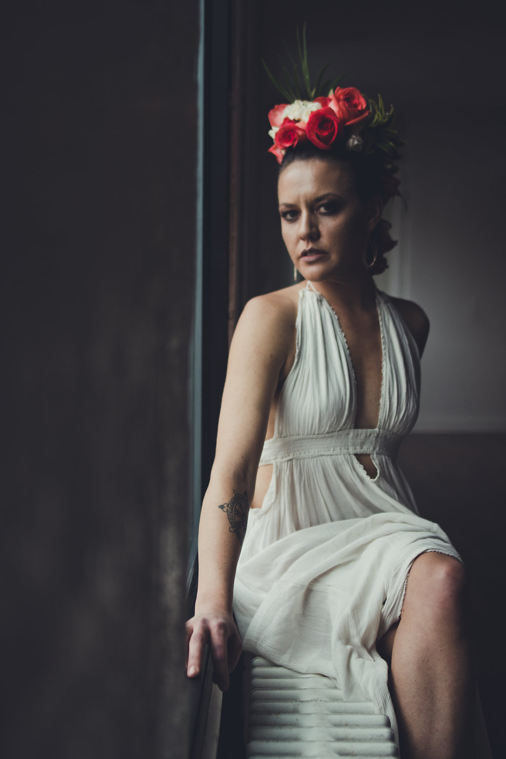 Lisa Rundall Wedding Photography Colorado model sitting on wall heater